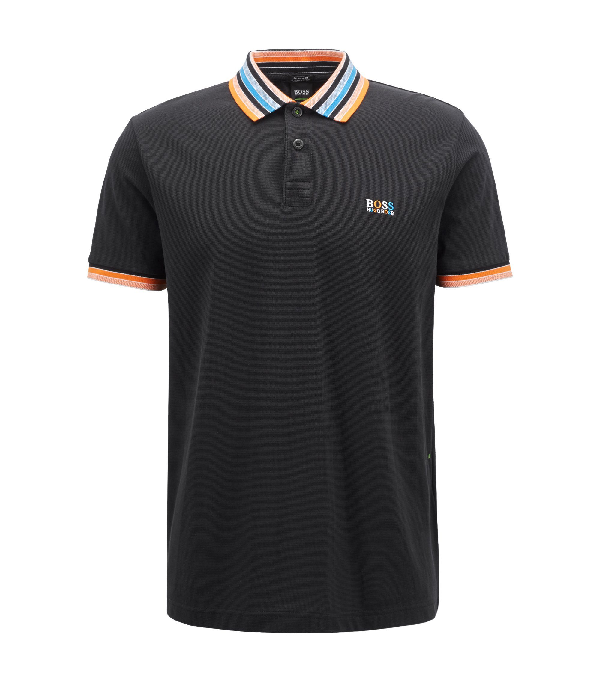 Cotton-piqué polo shirt with multicoloured degradé collar, Black