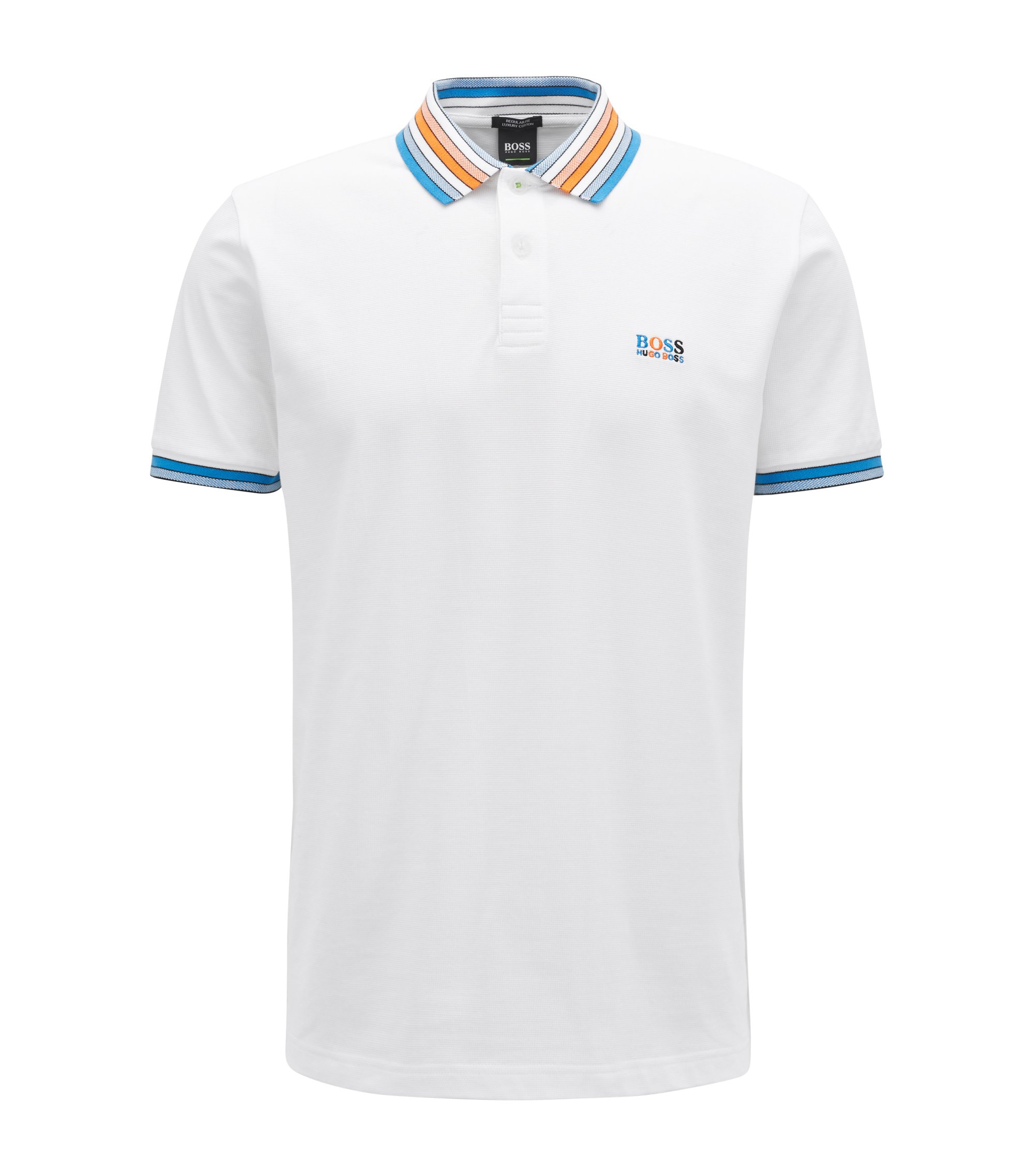 Cotton-piqué polo shirt with multicoloured degradé collar, White