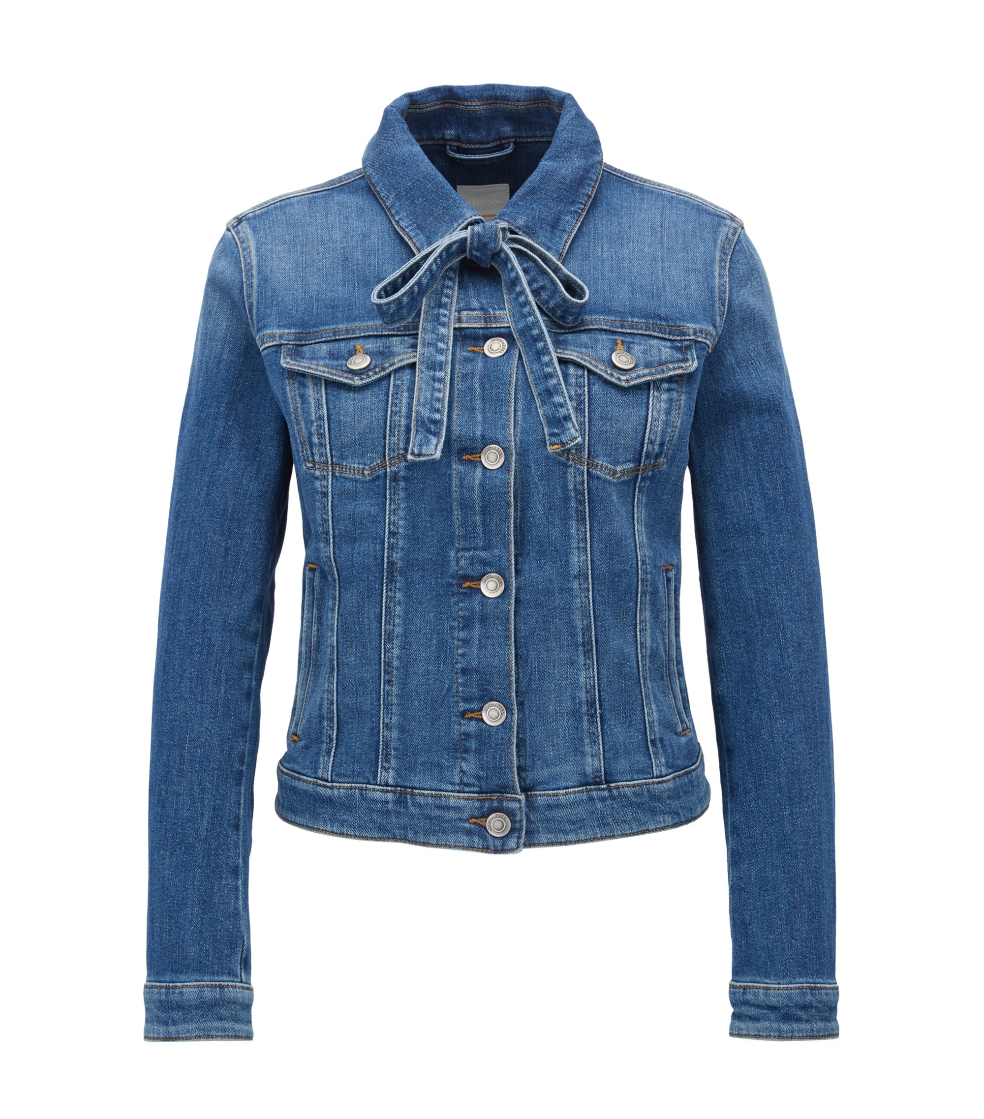 Regular-fit slub-denim jacket with bow detail, Blue