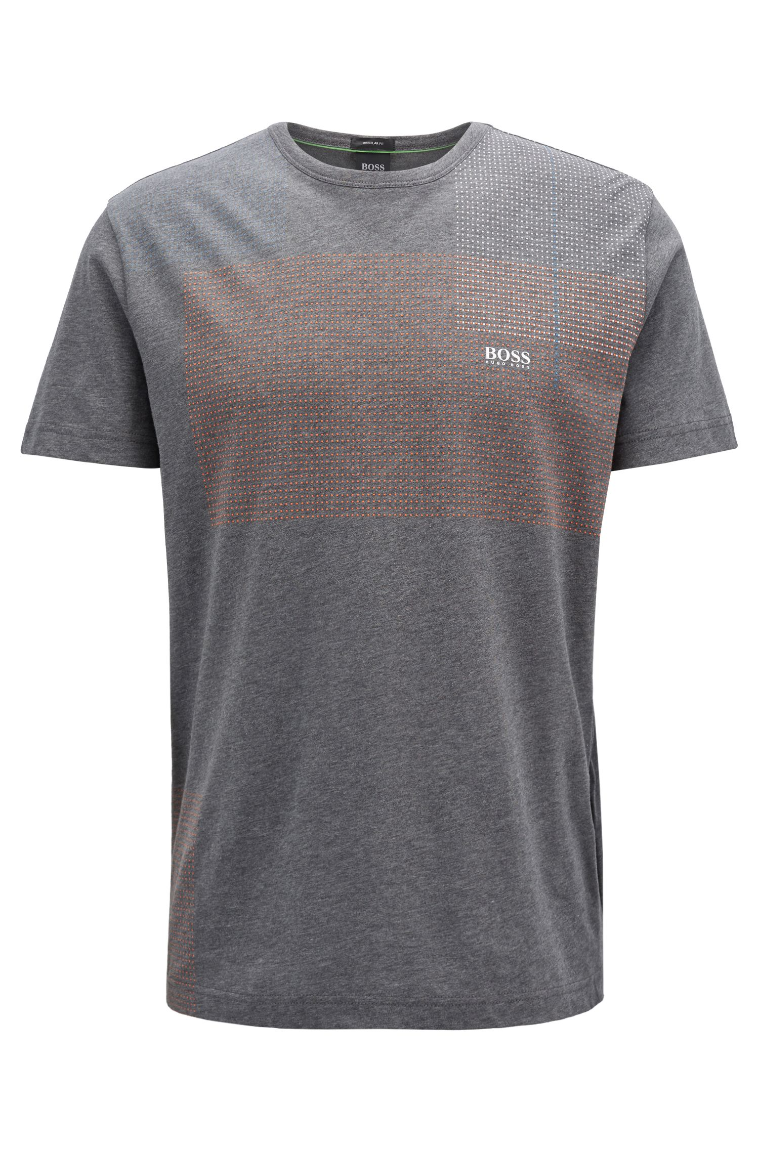 Logo T-shirt in single-jersey cotton with printed artwork, Grey