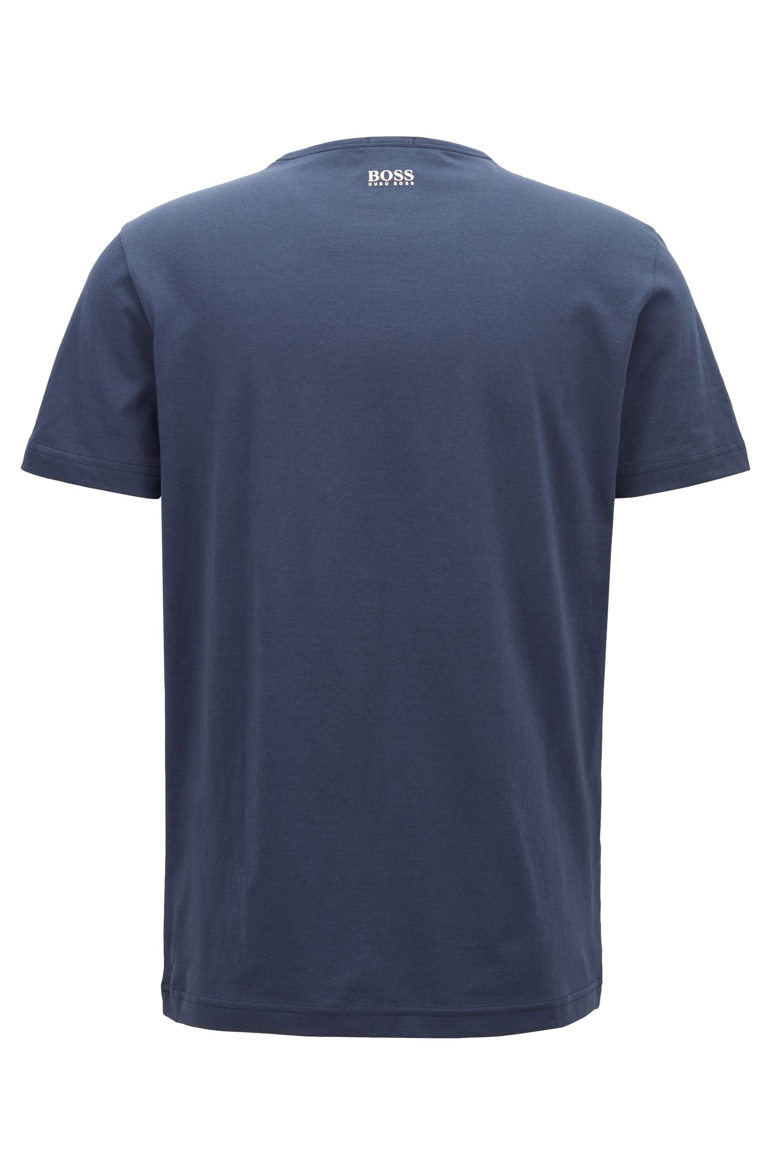 Crew-neck T-shirt with multi-coloured logo print, Dark Blue