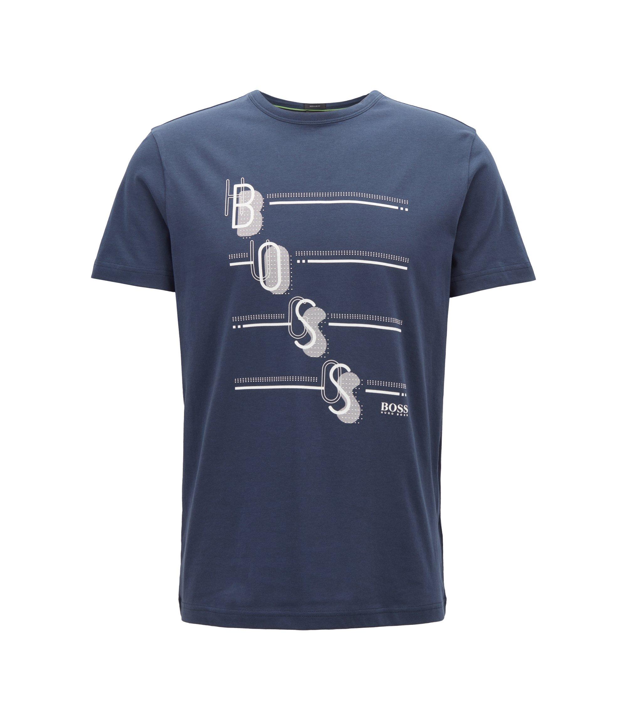 Camiseta de cuello redondo con logo estampado multicolor, Azul oscuro