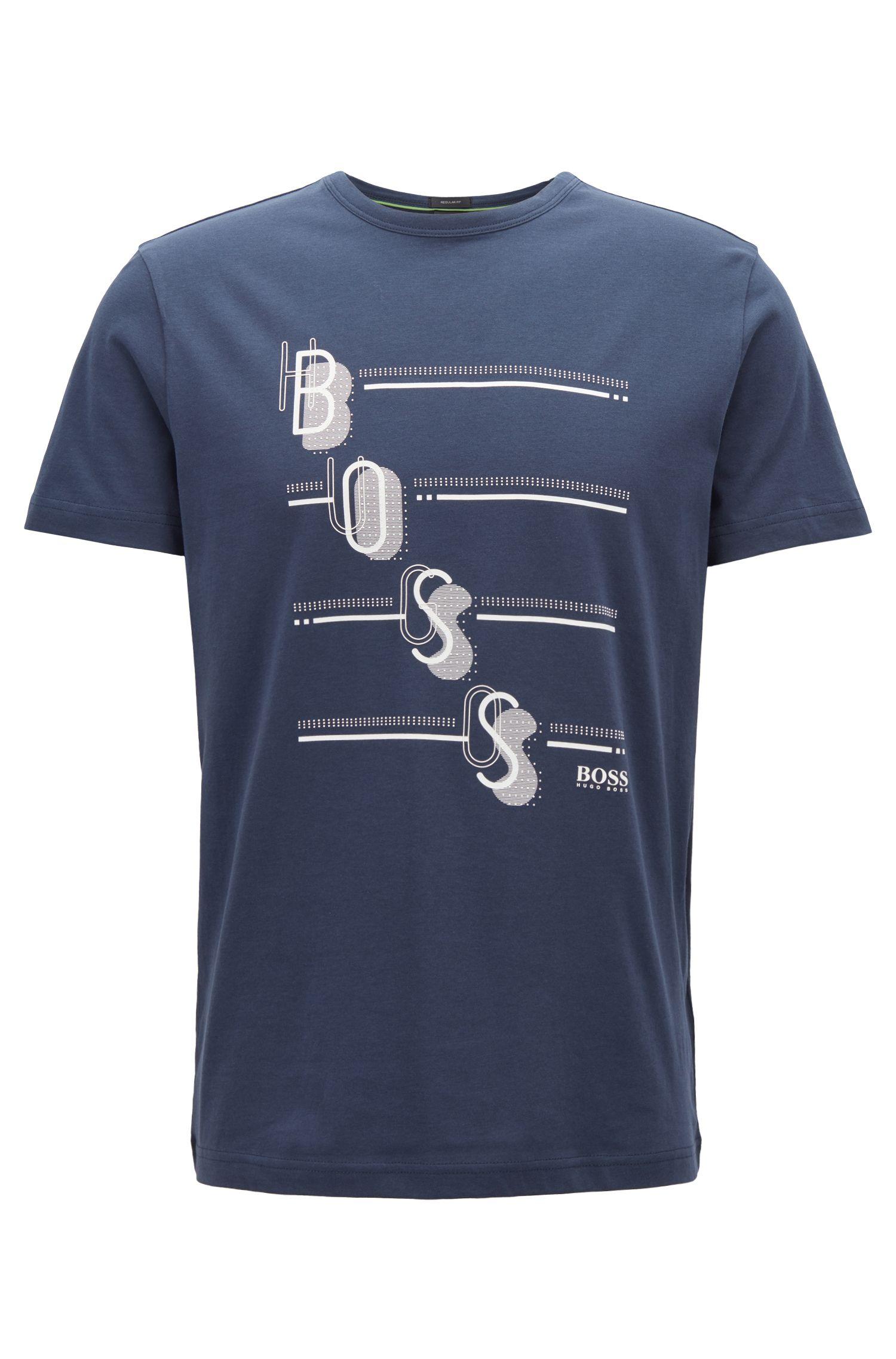 T-shirt à col ras-du-cou, avec logo imprimé multicolore, Bleu foncé