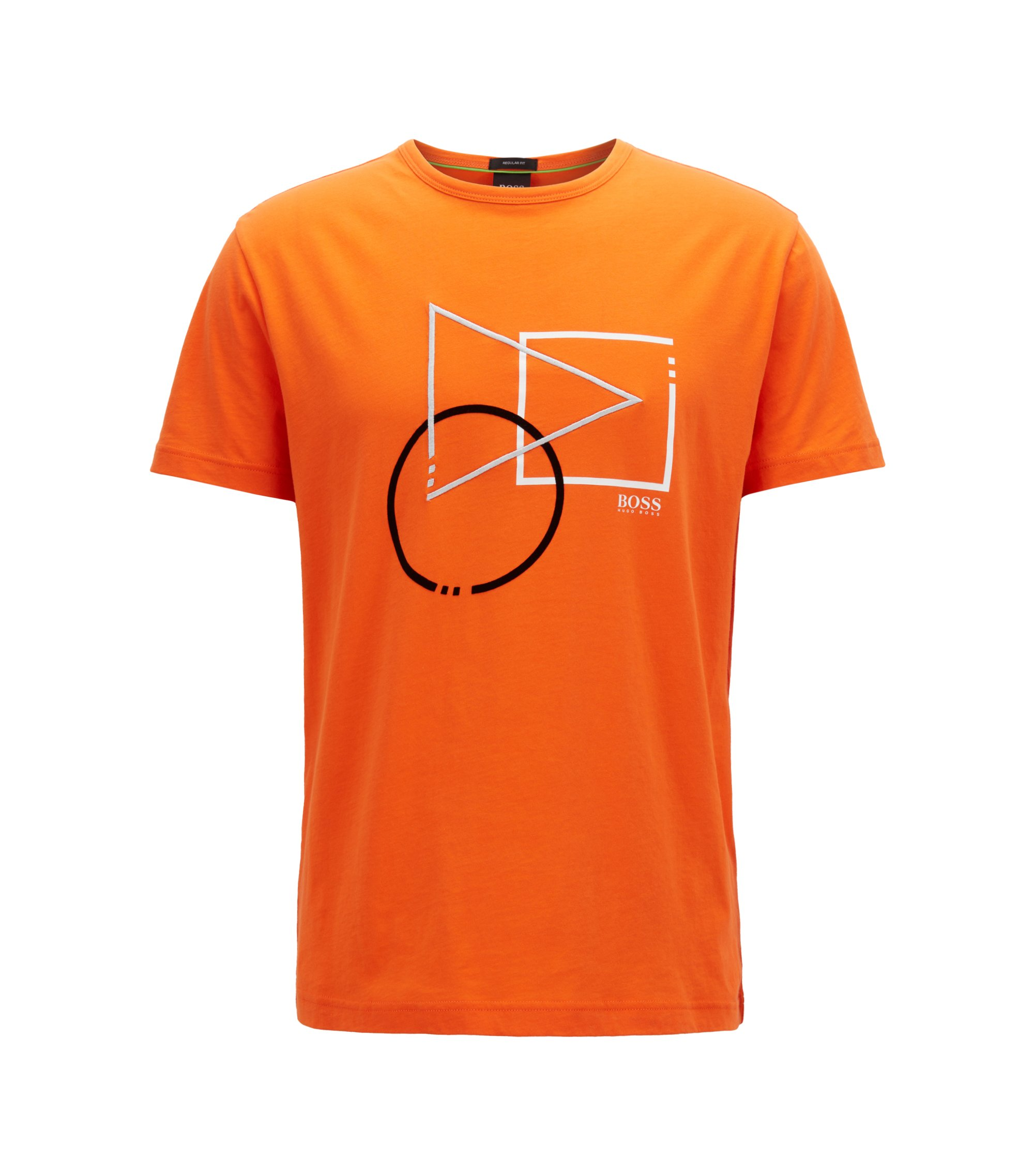 Short-sleeved graphic T-shirt in pure cotton, Orange
