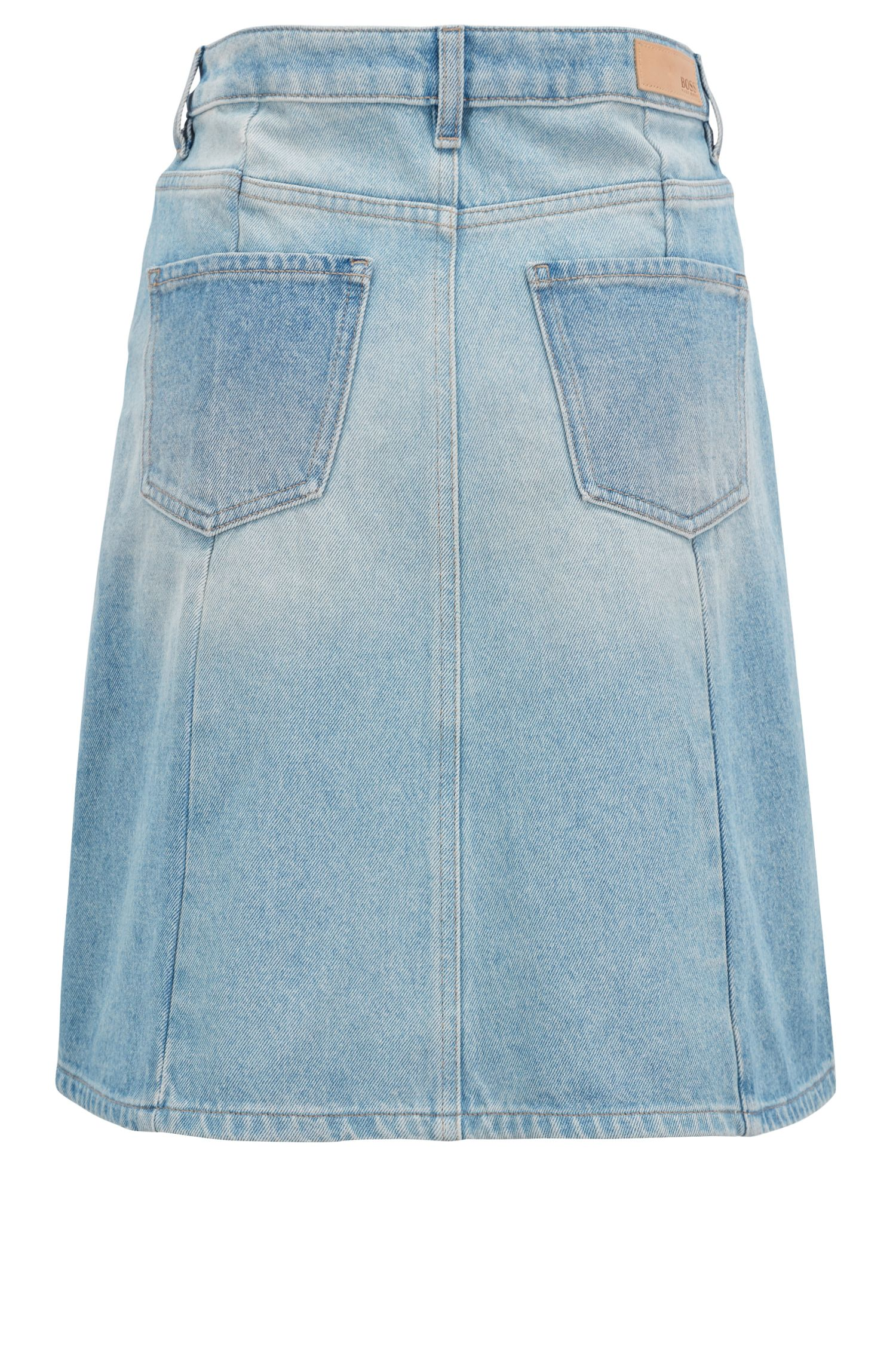 A-line skirt in heavyweight distressed denim