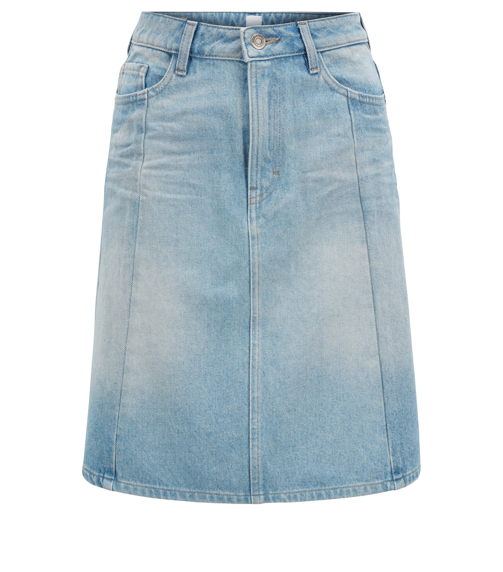 A-line skirt in heavyweight distressed denim, Blue