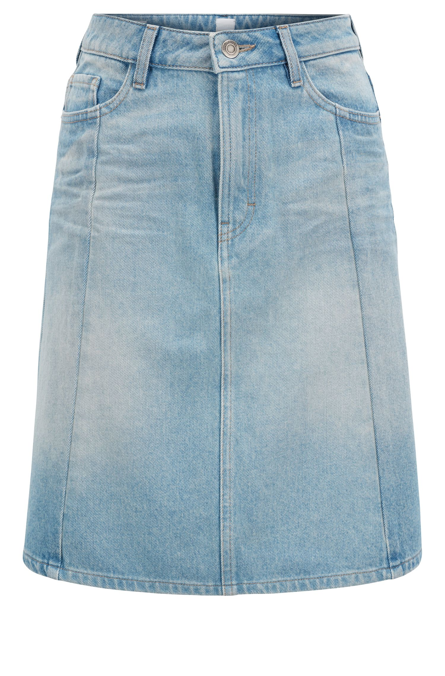 Gonna dalla linea svasata in denim pesante effetto vintage, Blu