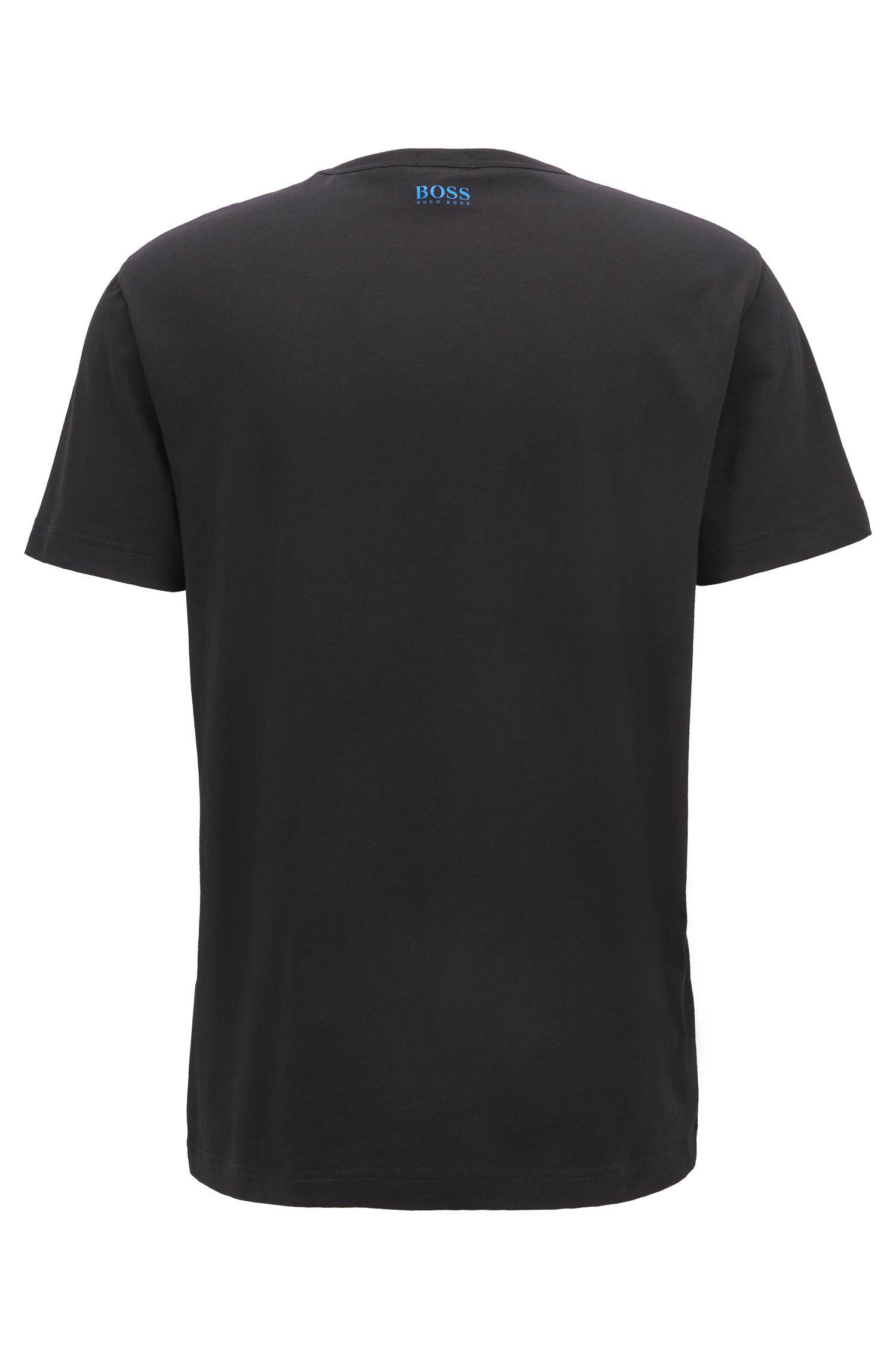 T-shirt con stampa a maniche corte in jersey di cotone, Nero