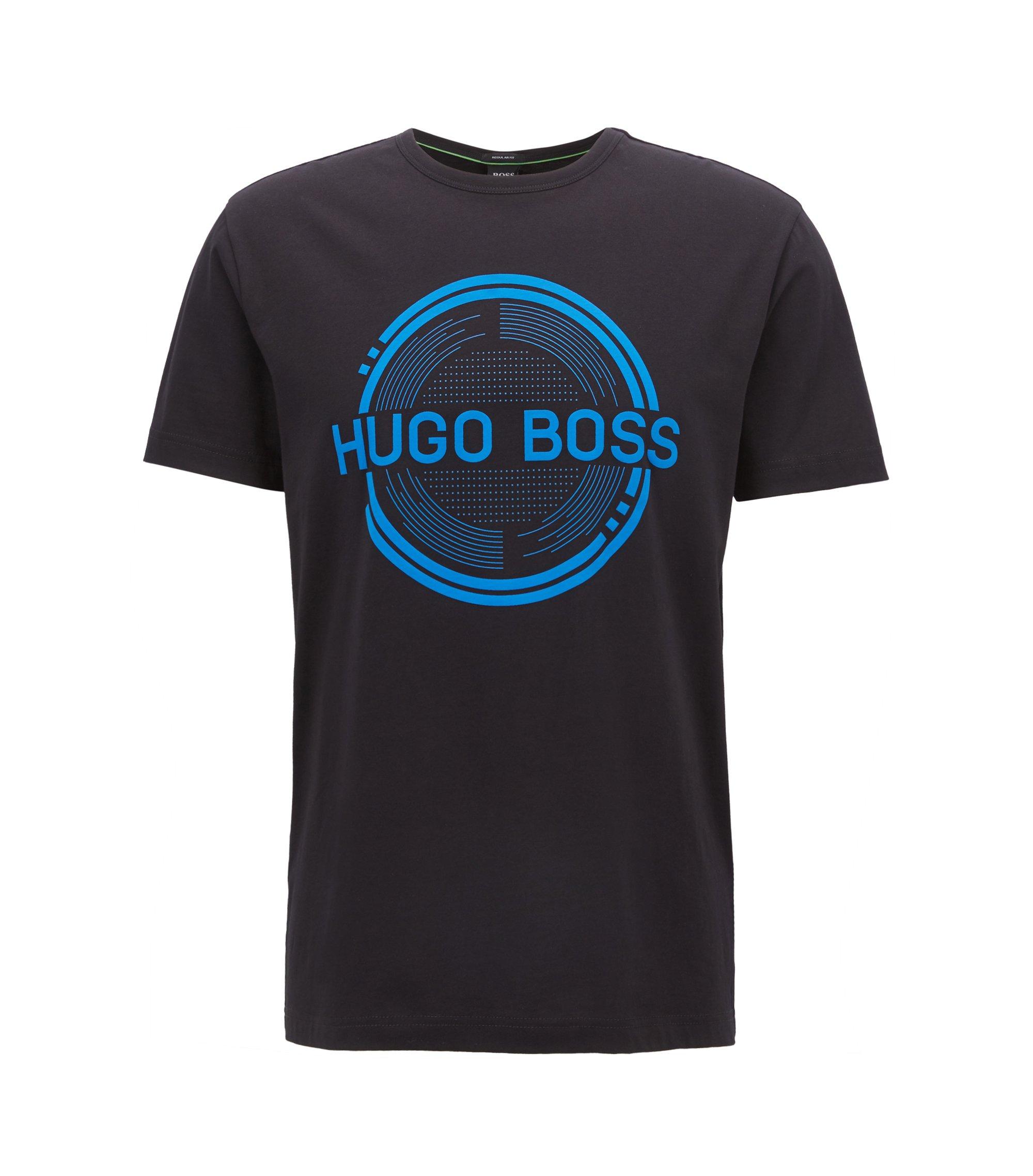 Camiseta estampada de manga corta, confeccionada en tejido de punto sencillo de algodón, Negro
