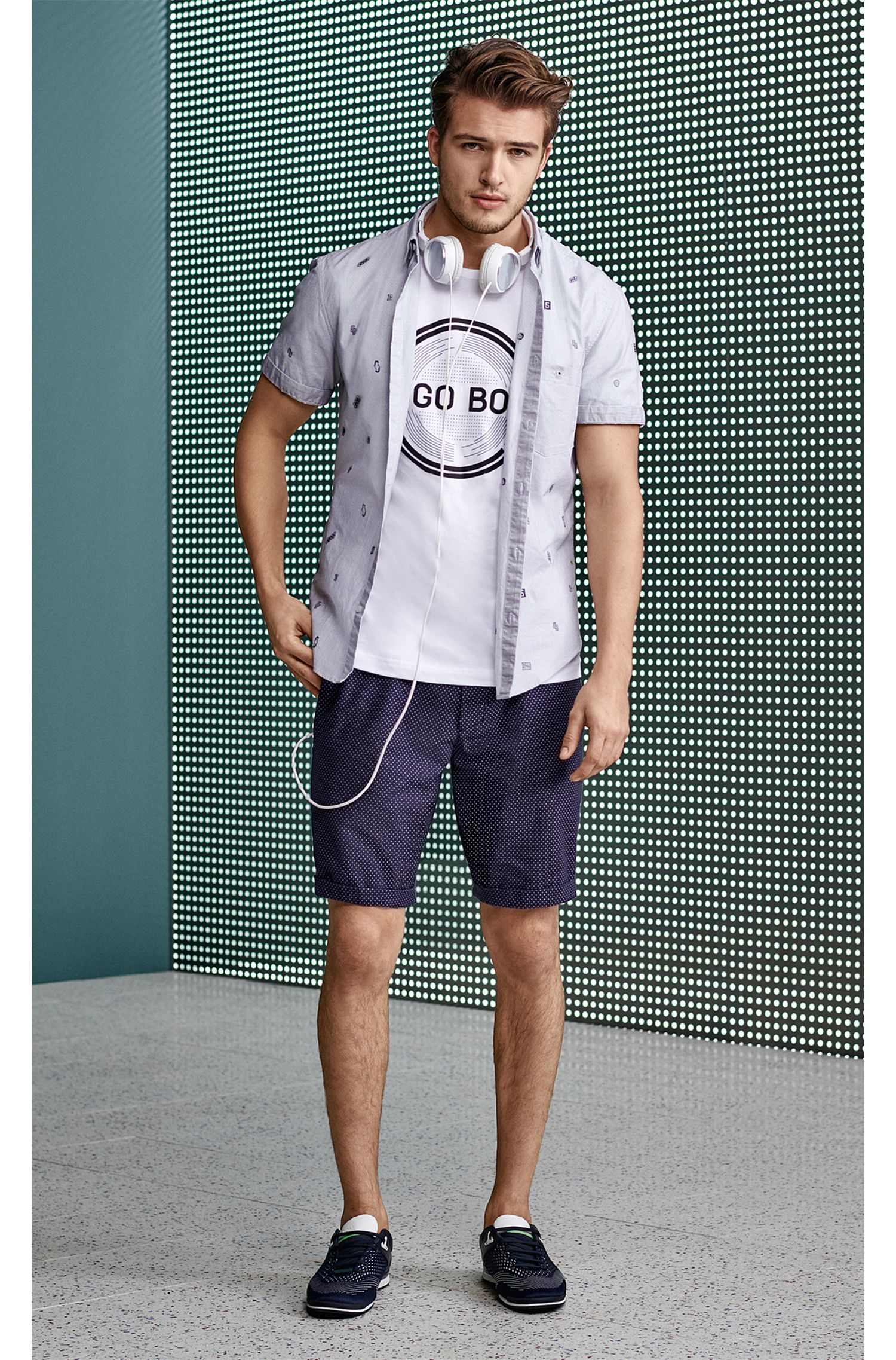 Short-sleeved printed T-shirt in single-jersey cotton
