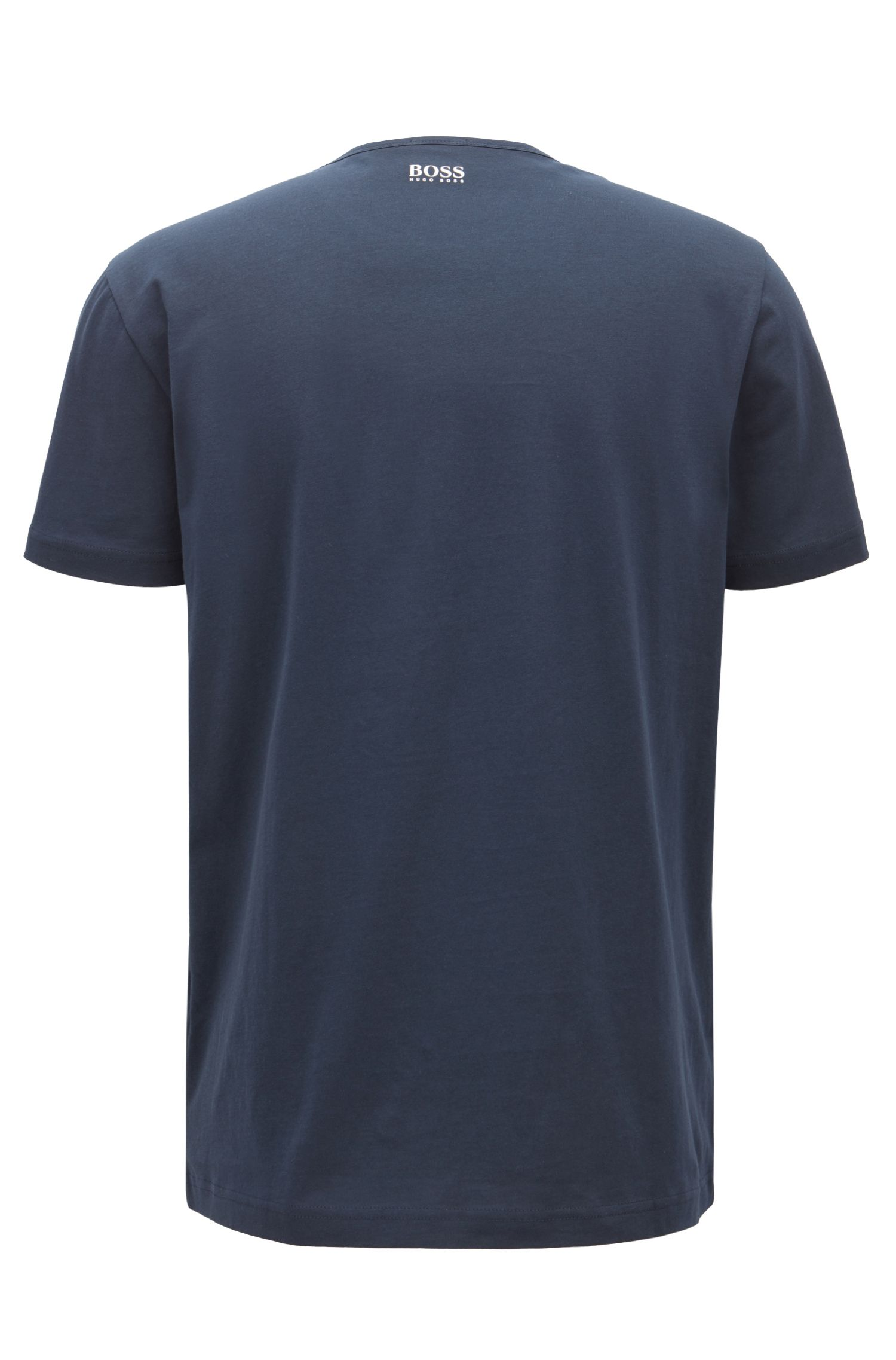 Short-sleeved printed T-shirt in single-jersey cotton, Dark Blue