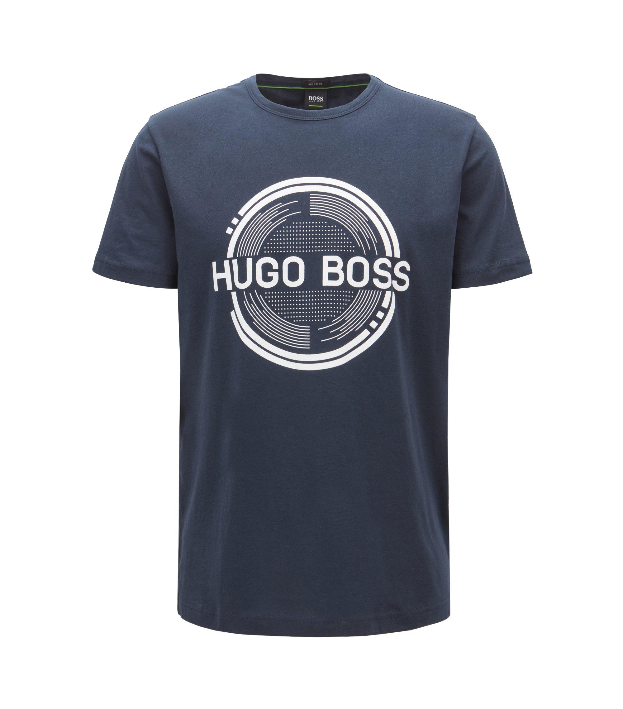 Camiseta estampada de manga corta, confeccionada en tejido de punto sencillo de algodón, Azul oscuro