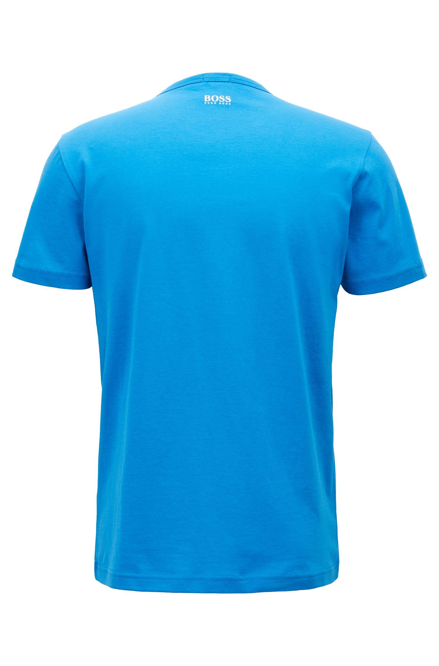 T-Shirt aus Baumwoll-Jerseymit Logo-Print, Türkis