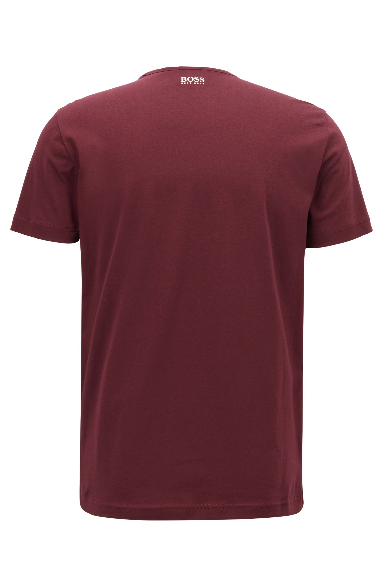 Short-sleeved printed T-shirt in single-jersey cotton, Dark Red