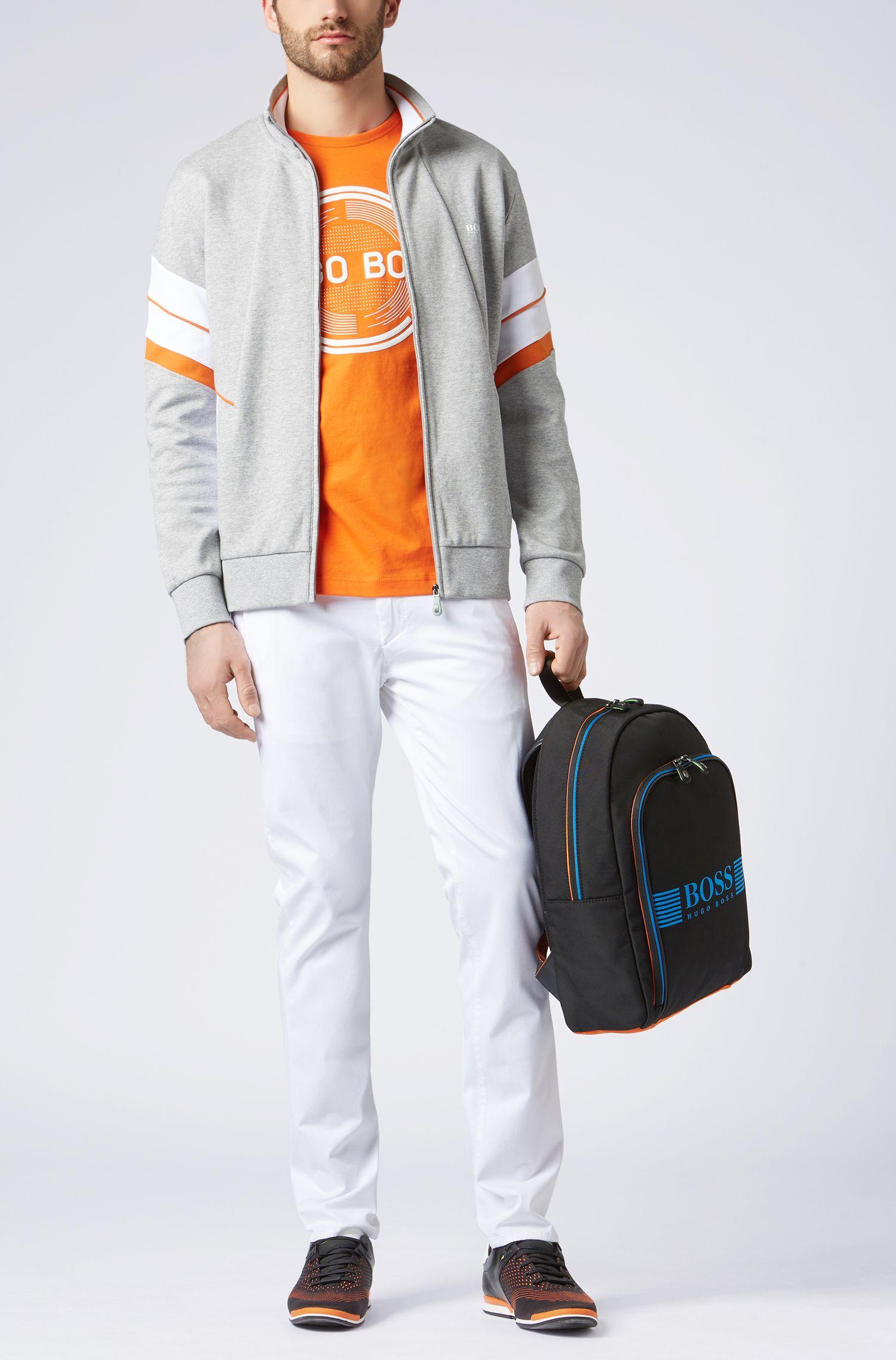 T-Shirt aus Baumwoll-Jerseymit Logo-Print, Orange