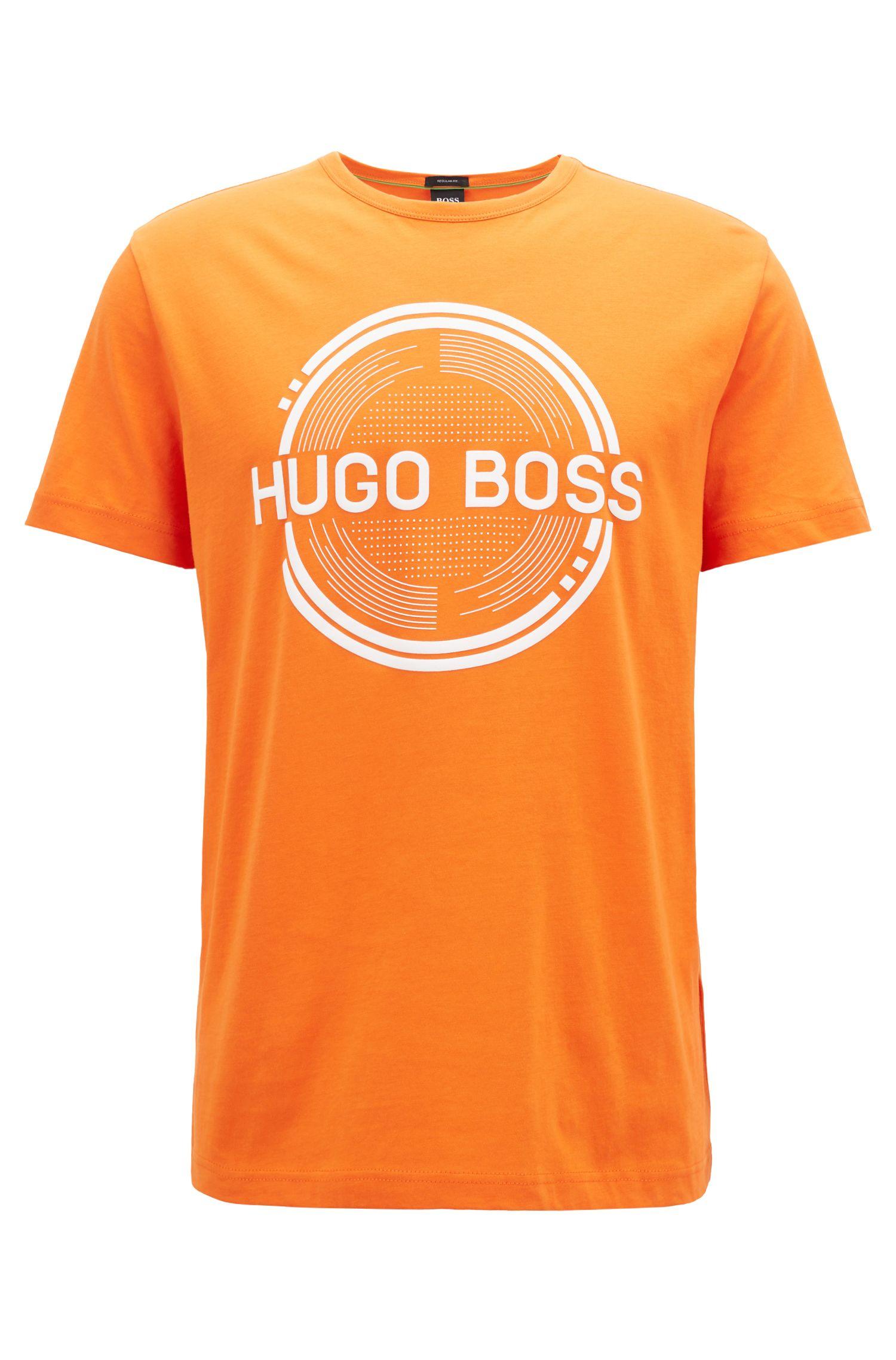 Camiseta estampada de manga corta, confeccionada en tejido de punto sencillo de algodón, Naranja