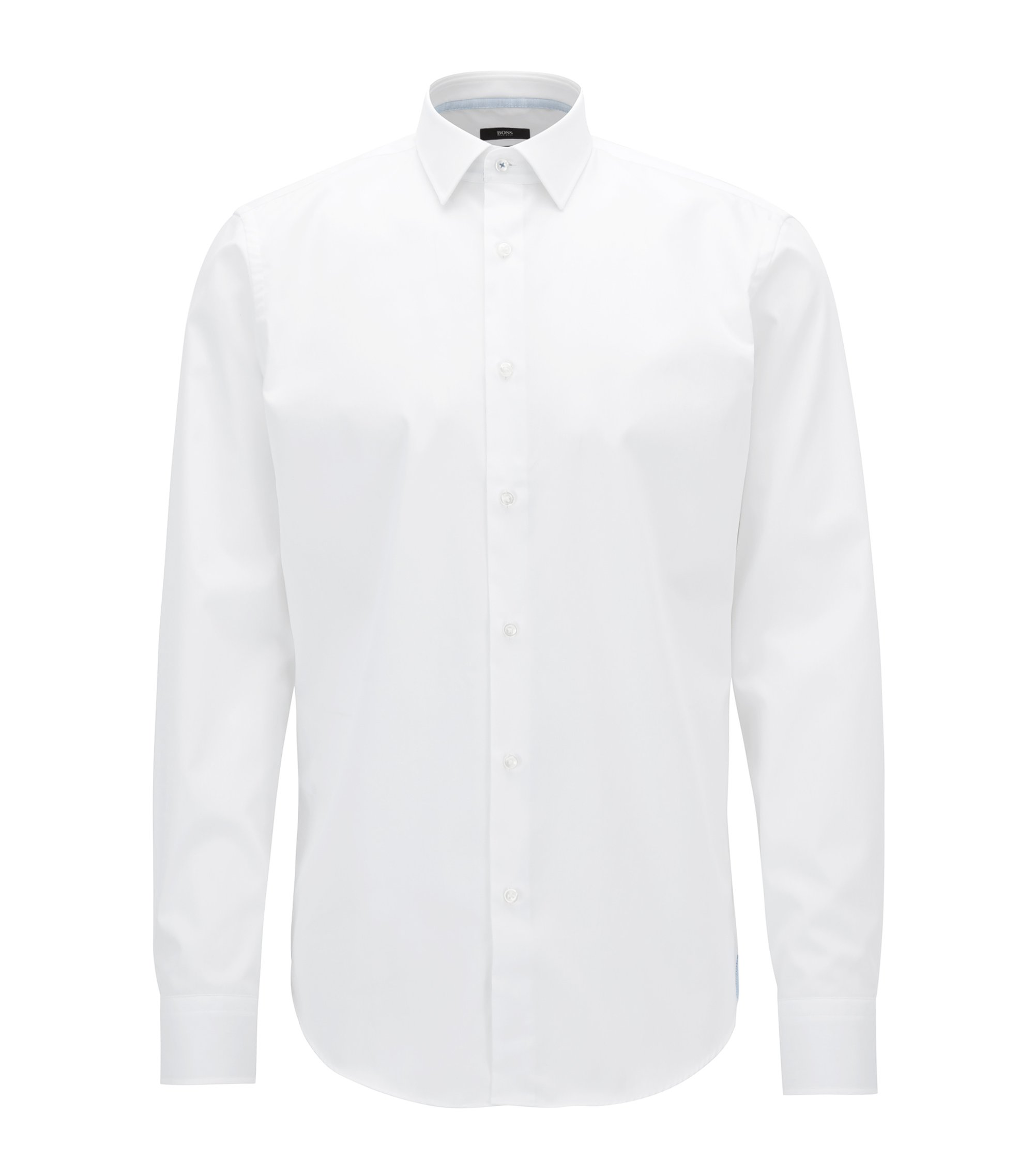 Regular-fit shirt in easy-iron cotton, Blanc