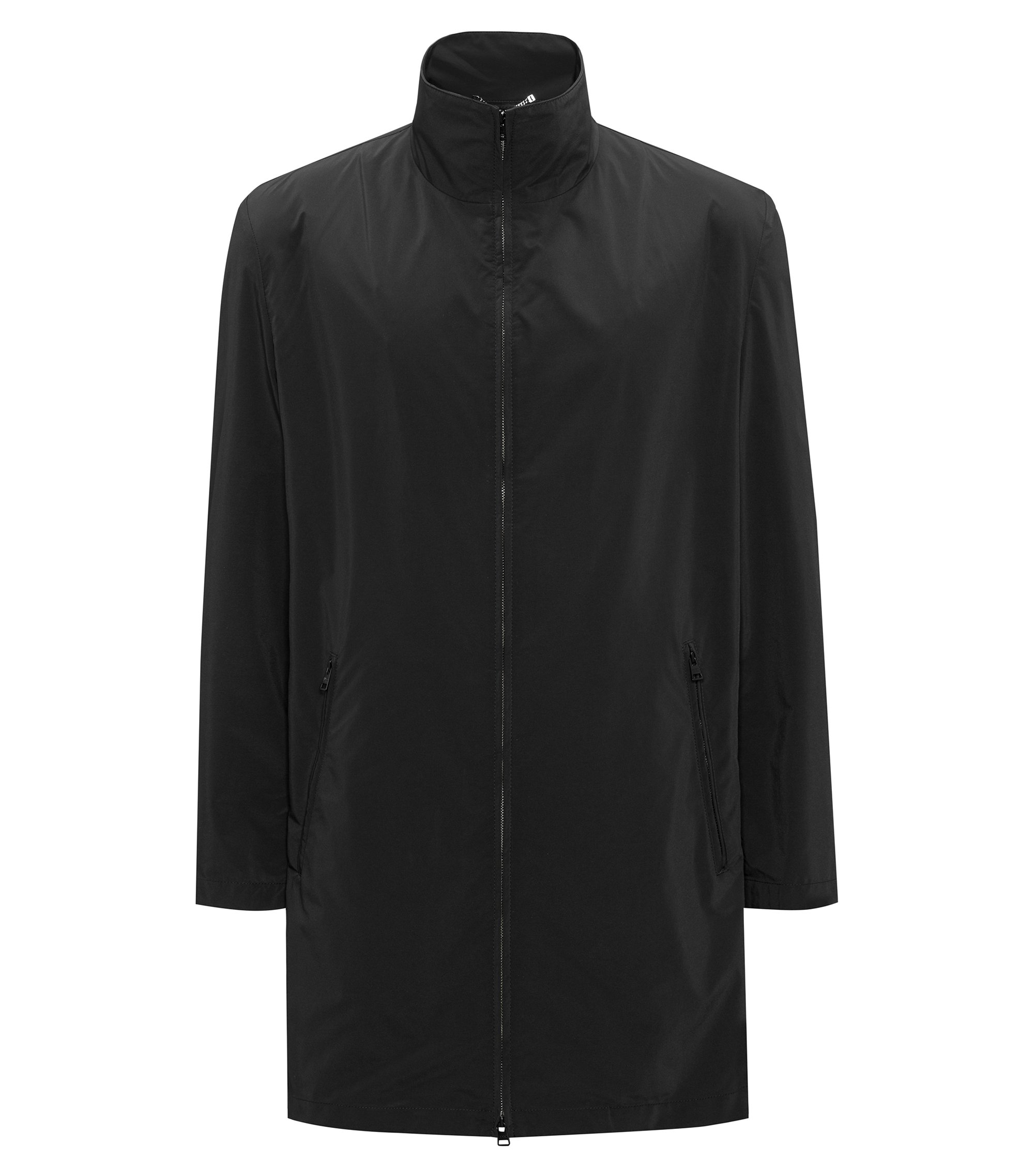 Slim-Fit Mantel mit Stehkragen und Reißverschluss, Schwarz