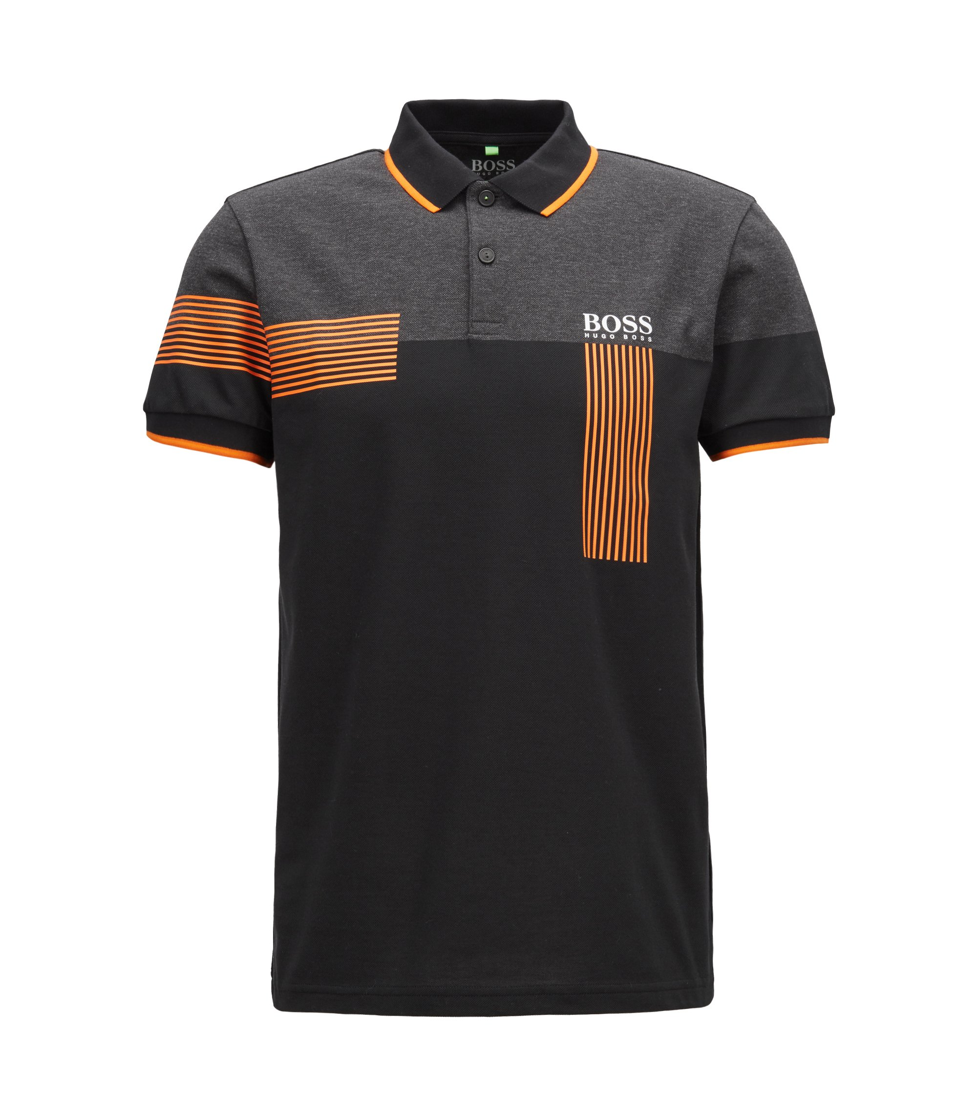 Regular-fit polo shirt in cotton-blend piqué, Black