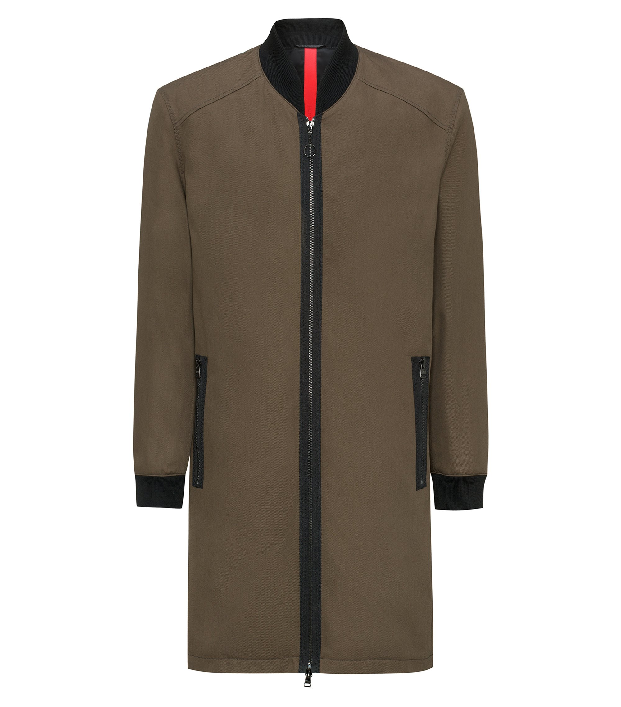Zip-through cotton twill coat with knitted stand collar, Brown