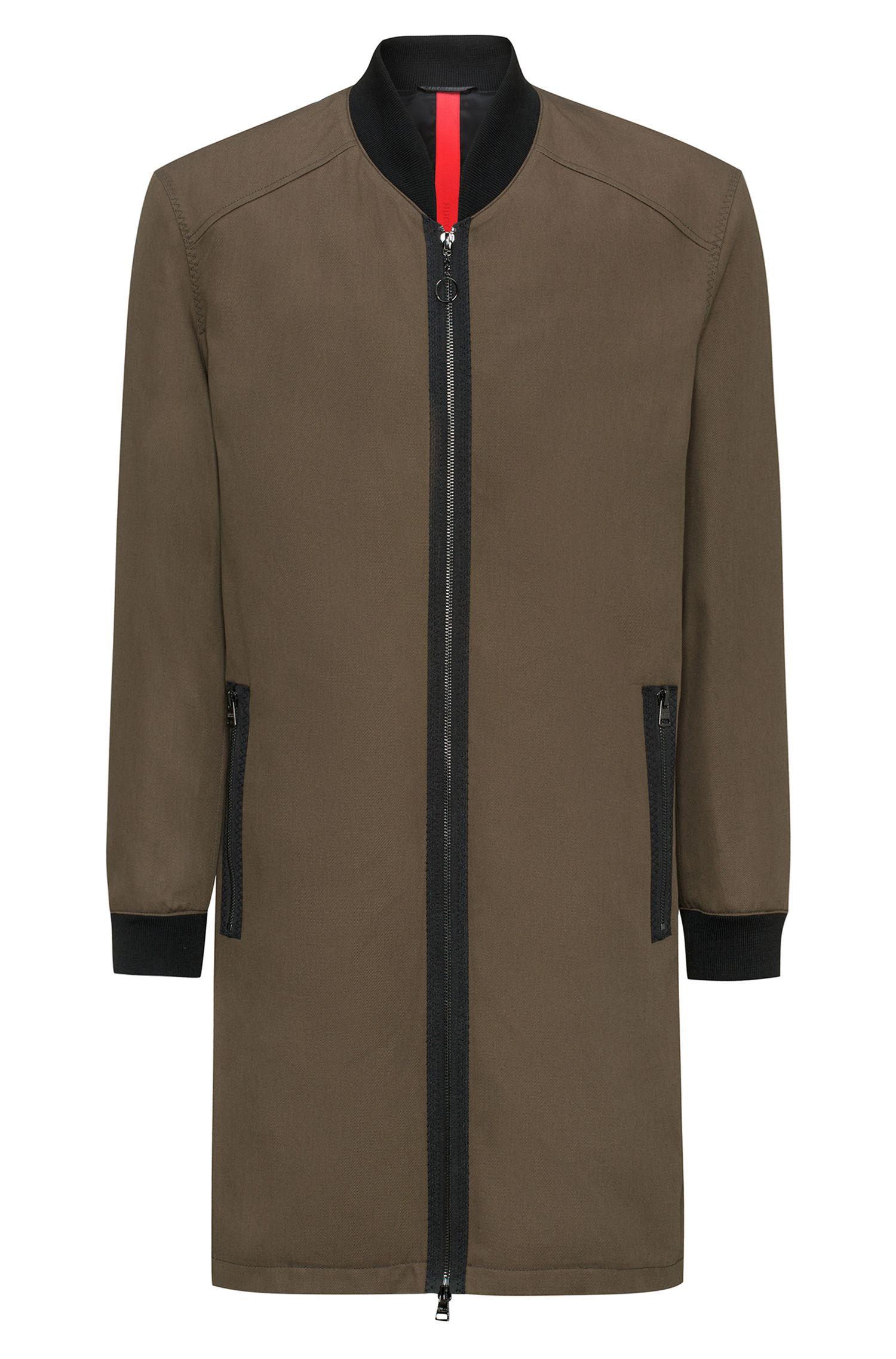 Relaxed-Fit Mantel aus Baumwoll-Twill mit gestricktem Stehkragen und Reißverschluss