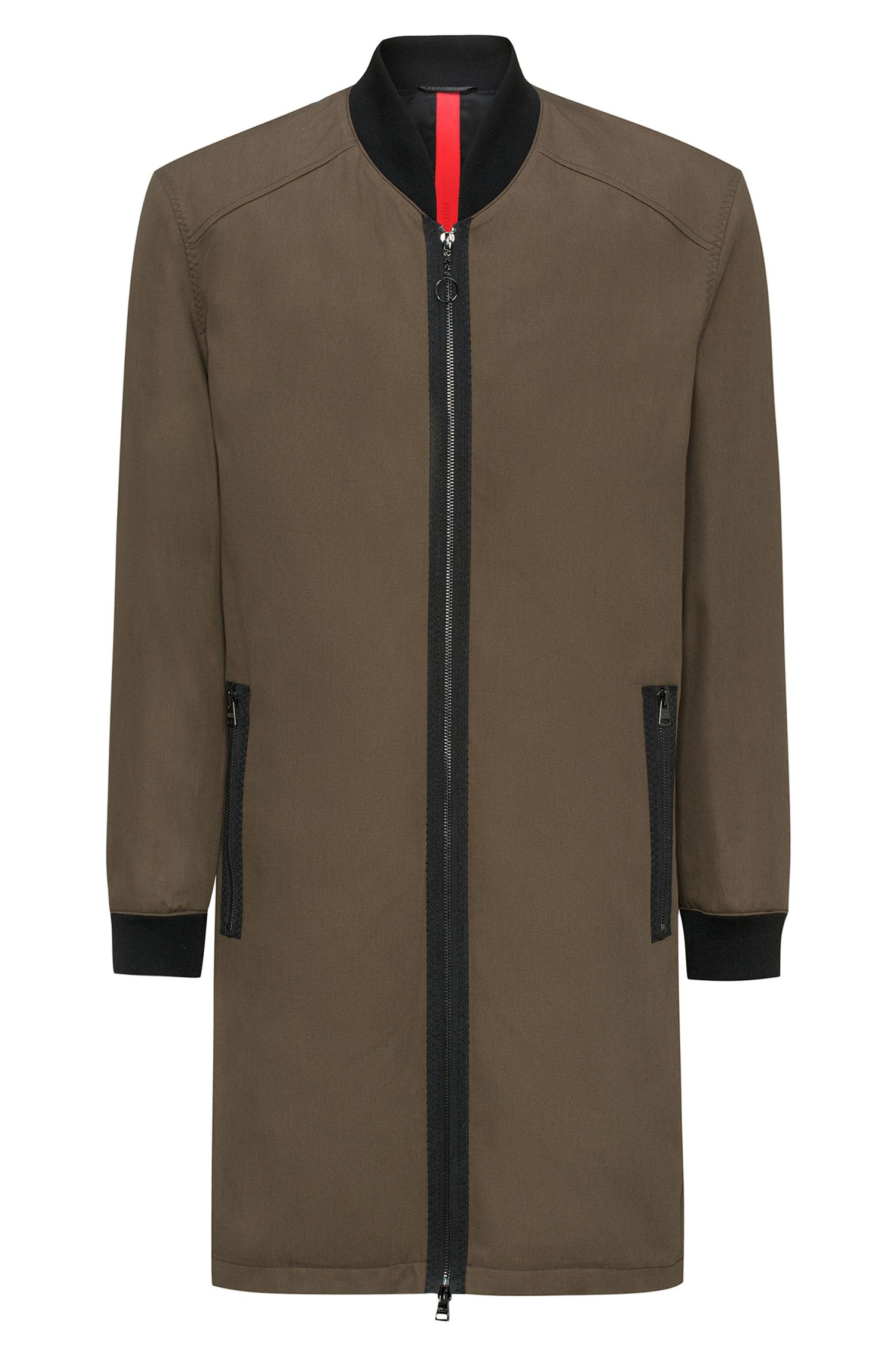 Zip-through cotton twill coat with knitted stand collar