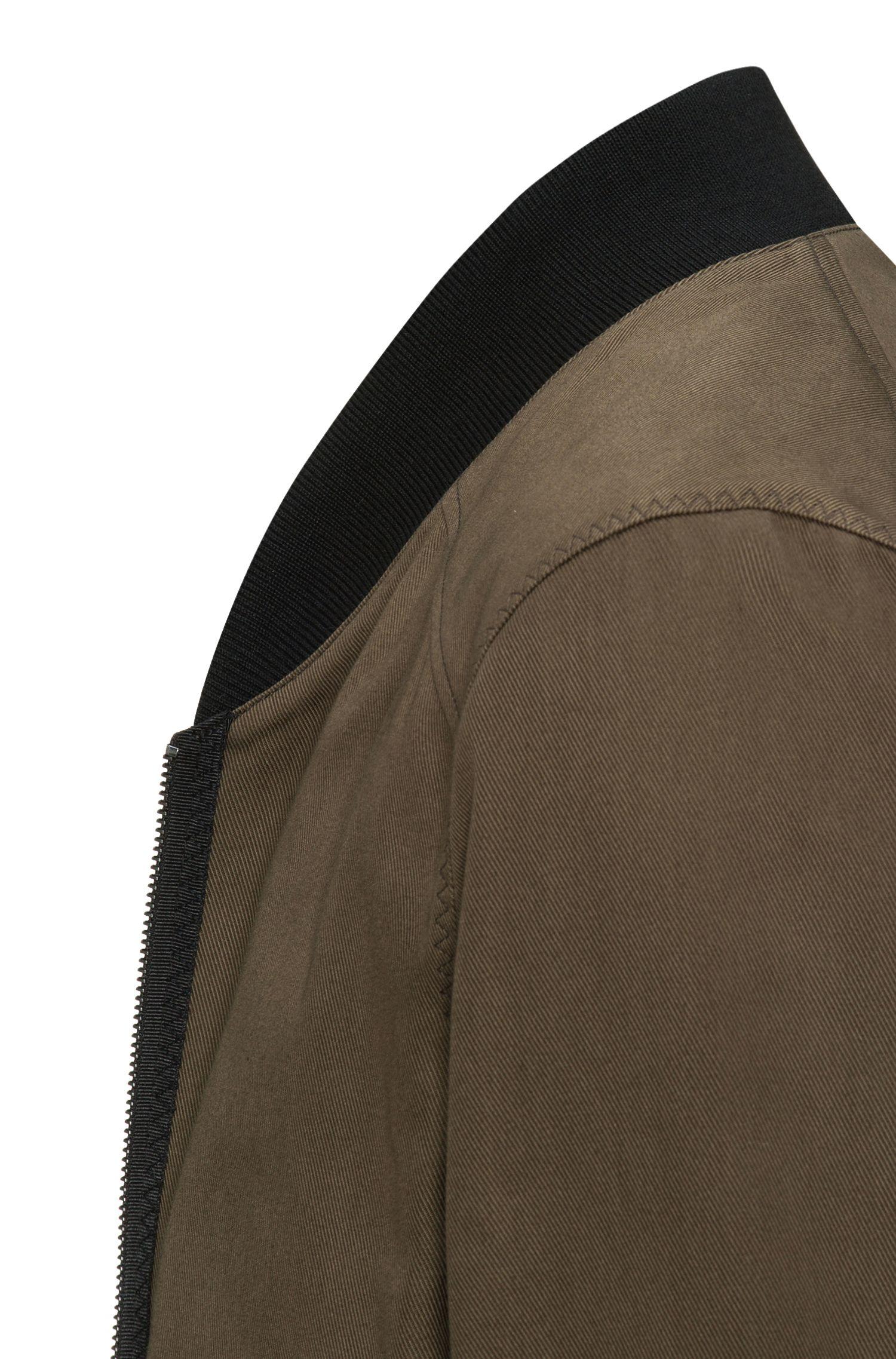 Soprabito con zip integrale in twill di cotone con colletto rialzato in maglia