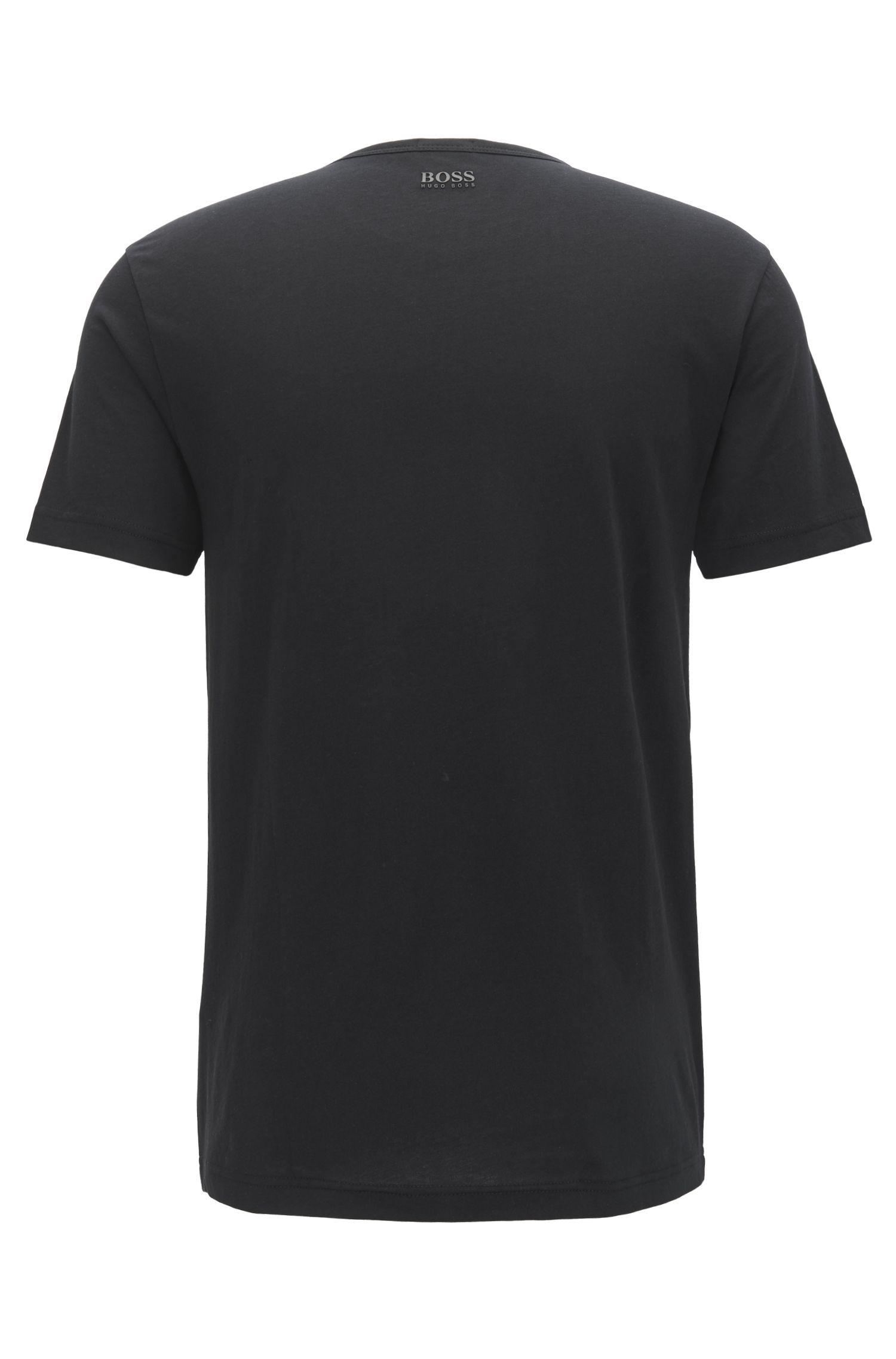 Camiseta de manga corta en algodón con logo tridimensional, Negro