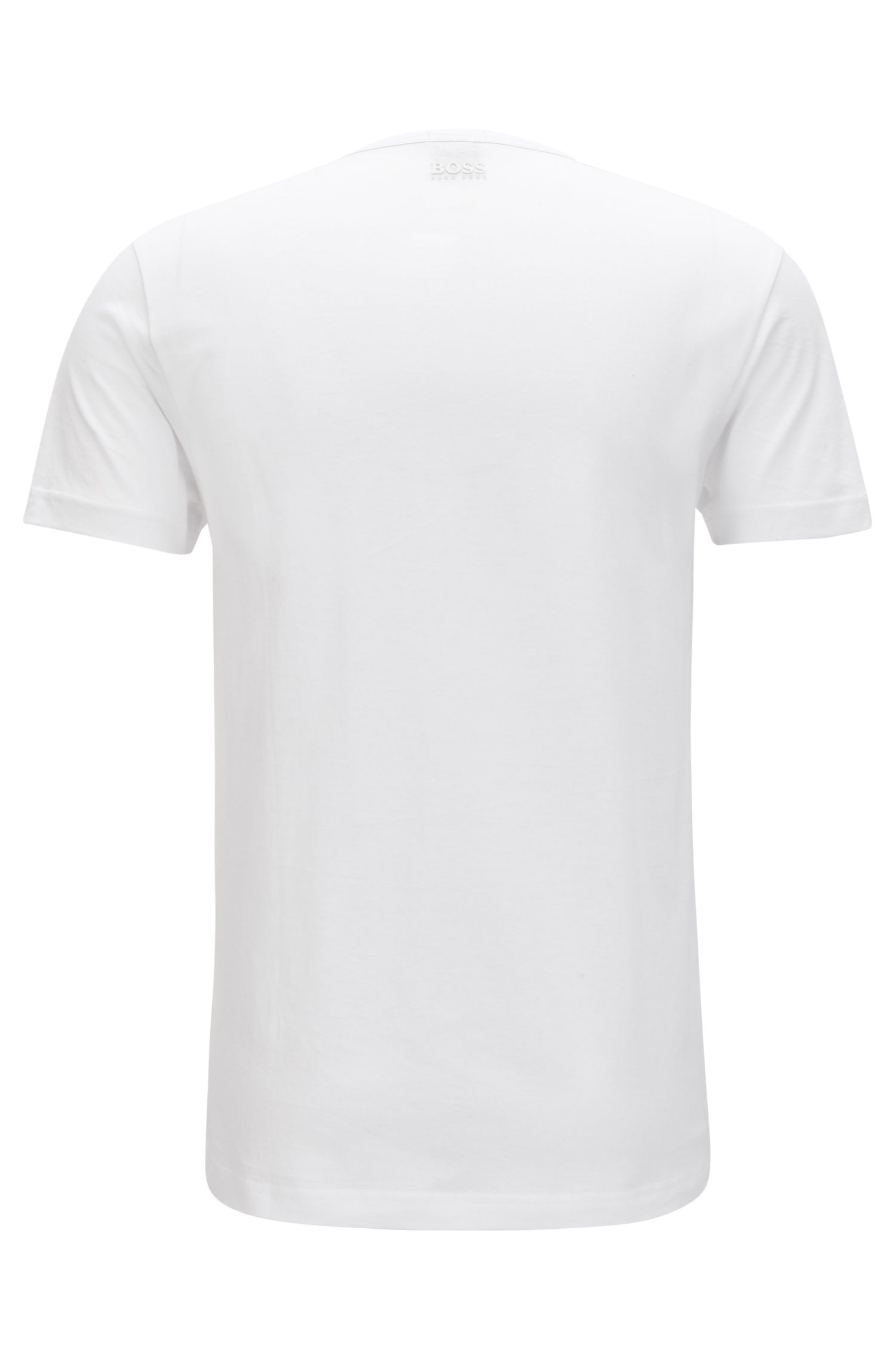 Short-sleeved cotton T-shirt with three-dimensional logo