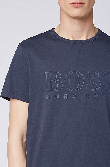 男款休闲logo短袖T恤,  410_海军蓝色