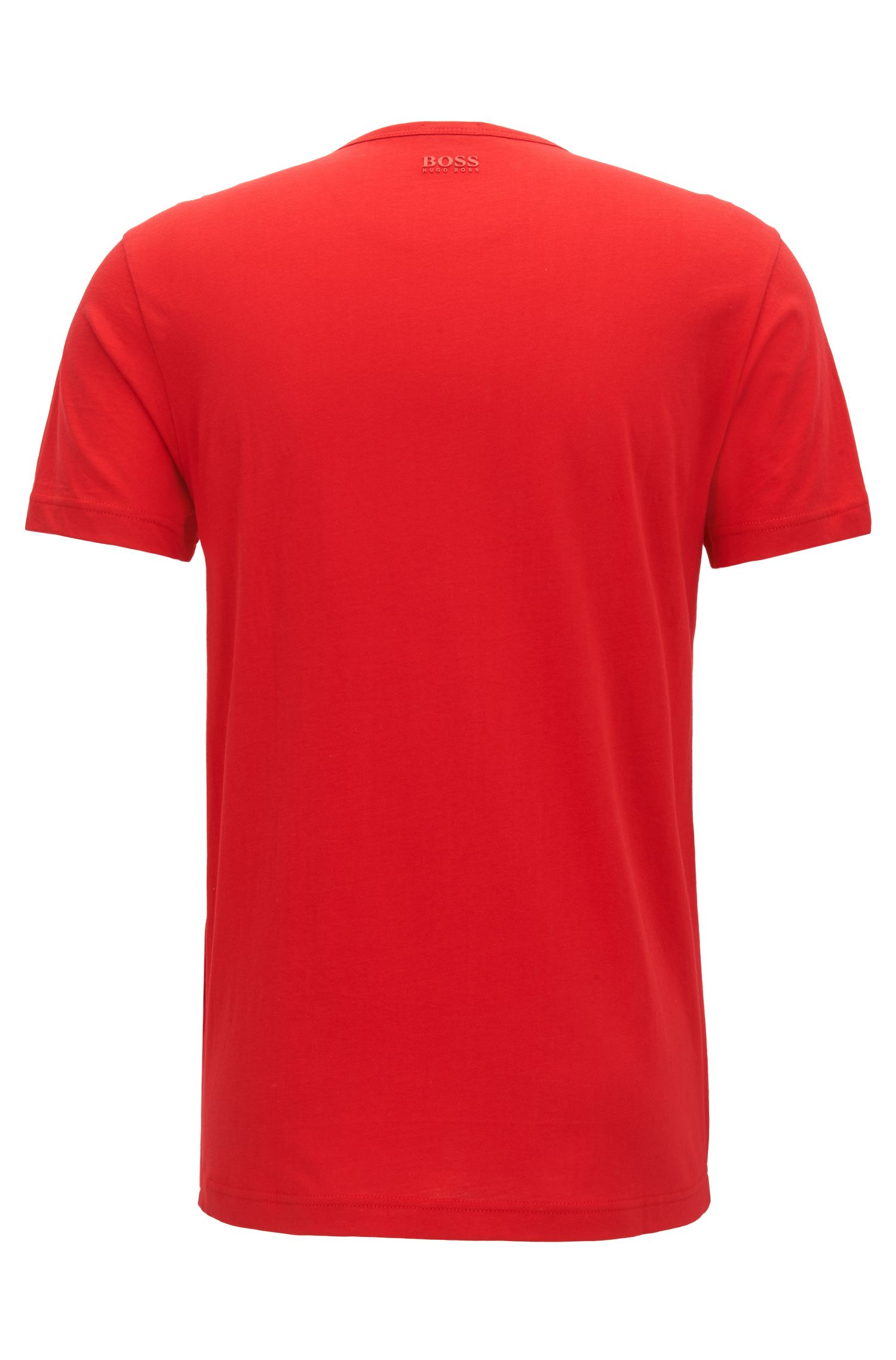 T-shirt van katoen met korte mouwen en driedimensionaal logo