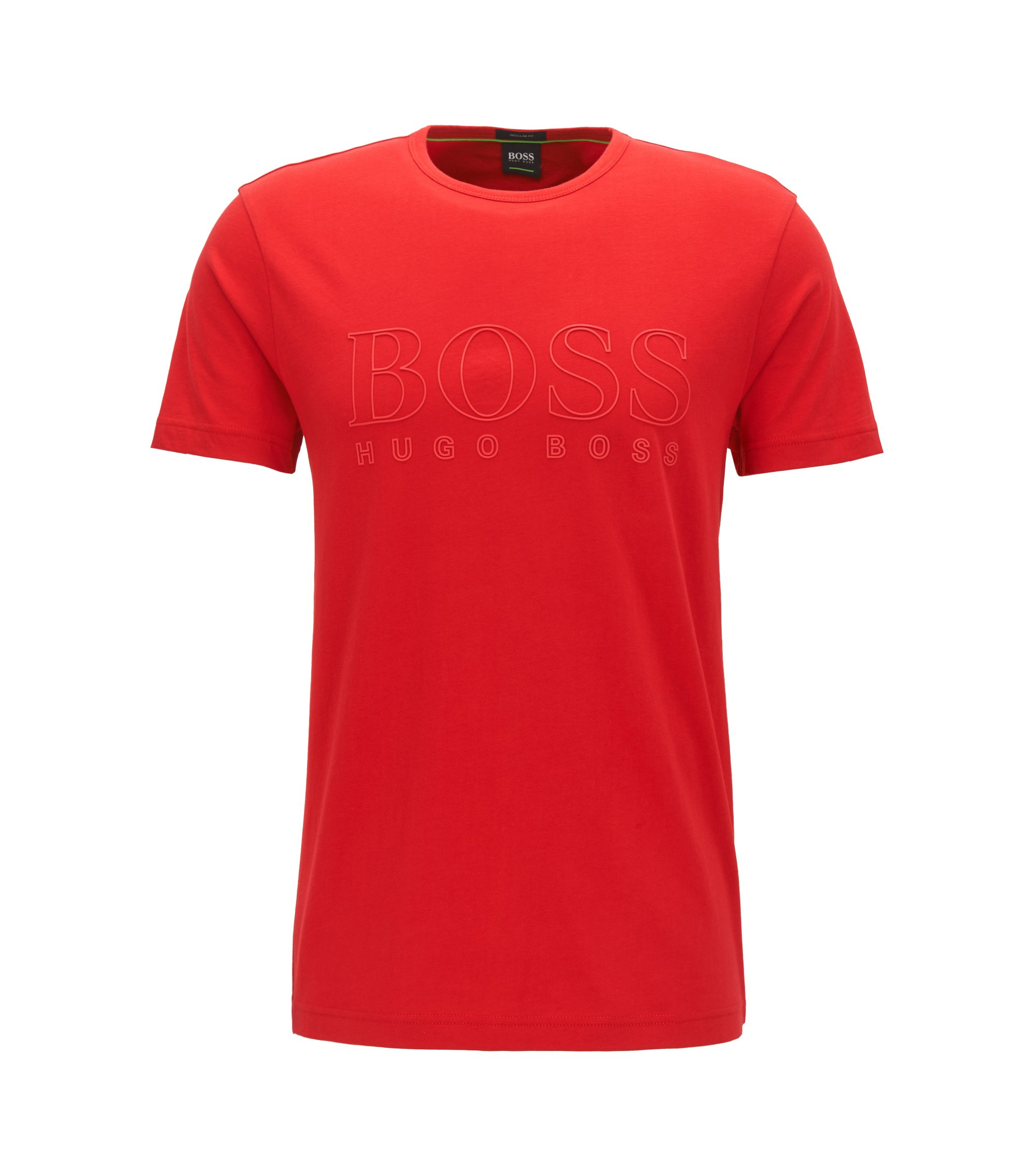 Short-sleeved cotton T-shirt with three-dimensional logo, Red