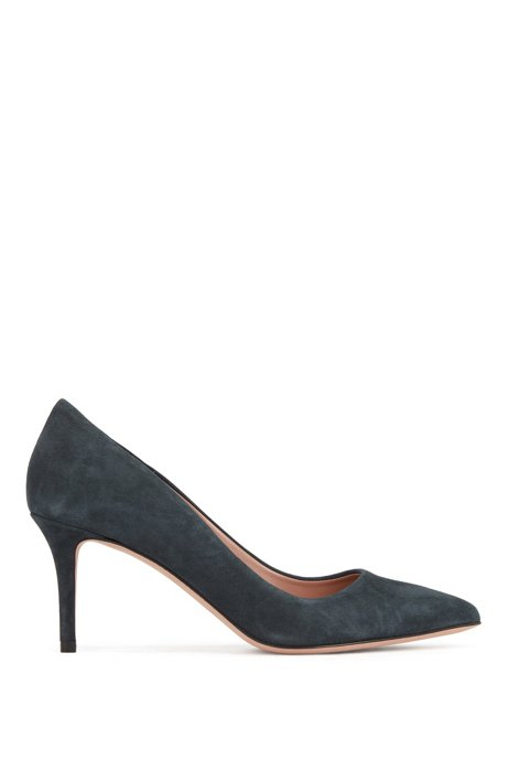 Suede court shoes with 70mm heel, Dark Green