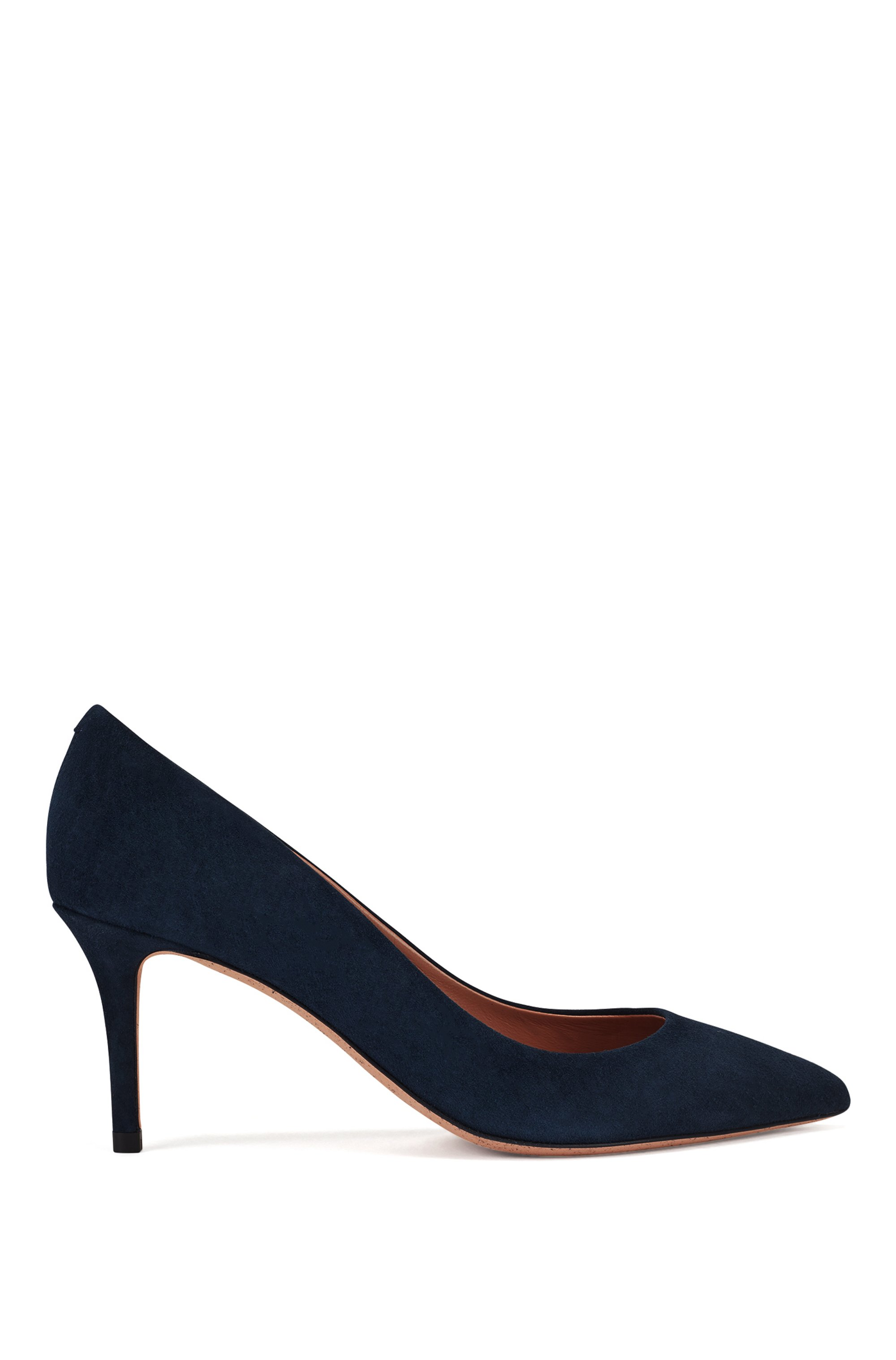 Suede court shoes with 70mm heel, Dark Blue