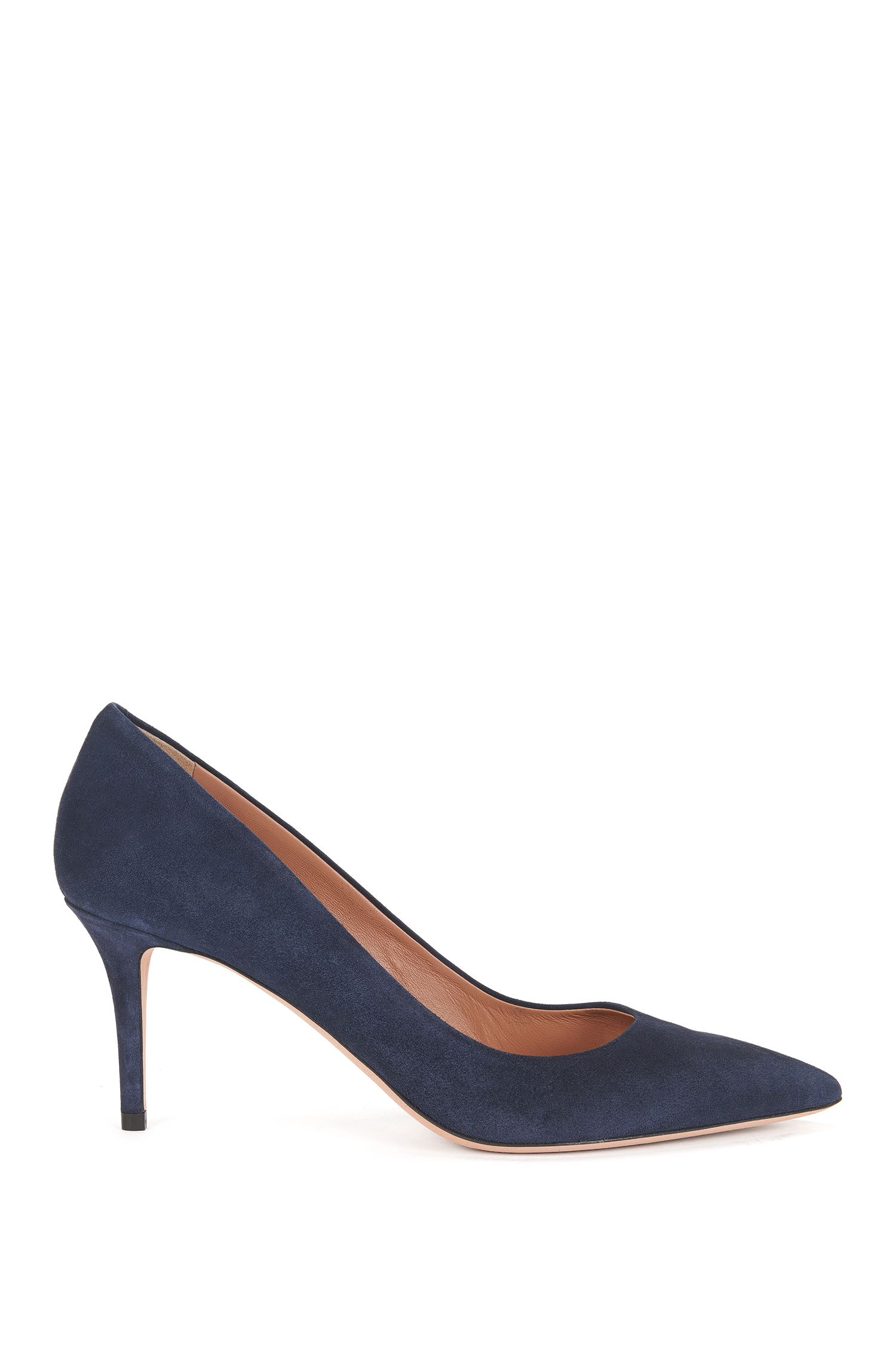 Suede court shoes with 70mm heel