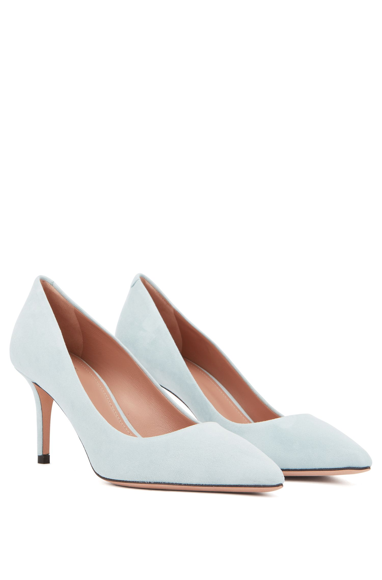Suede court shoes with 70mm heel, Dark Blue