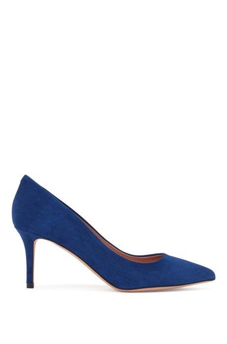 Suede court shoes with 70mm heel, Dark Purple