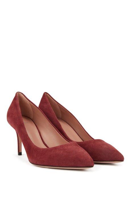 Suede court shoes with 70mm heel, Dark Red