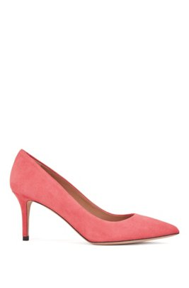 Suede court shoes with 70mm heel, Pink