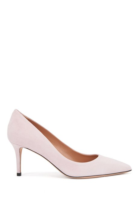 Suede court shoes with 70mm heel, light pink