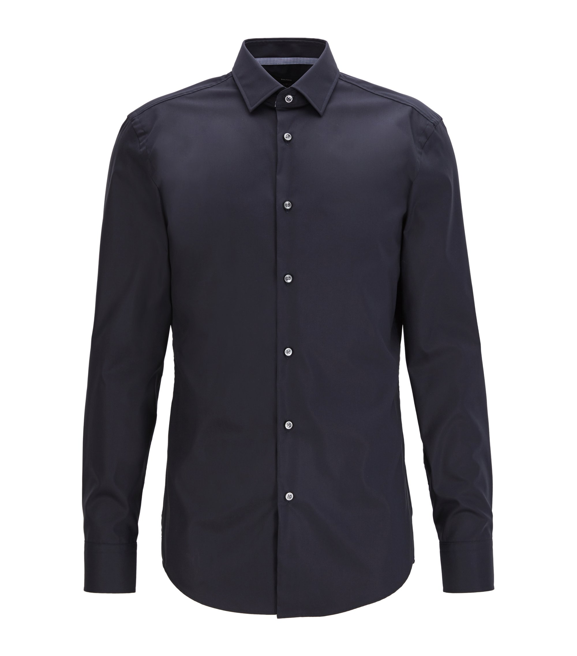 Slim-fit shirt in easy-iron cotton, Azul oscuro