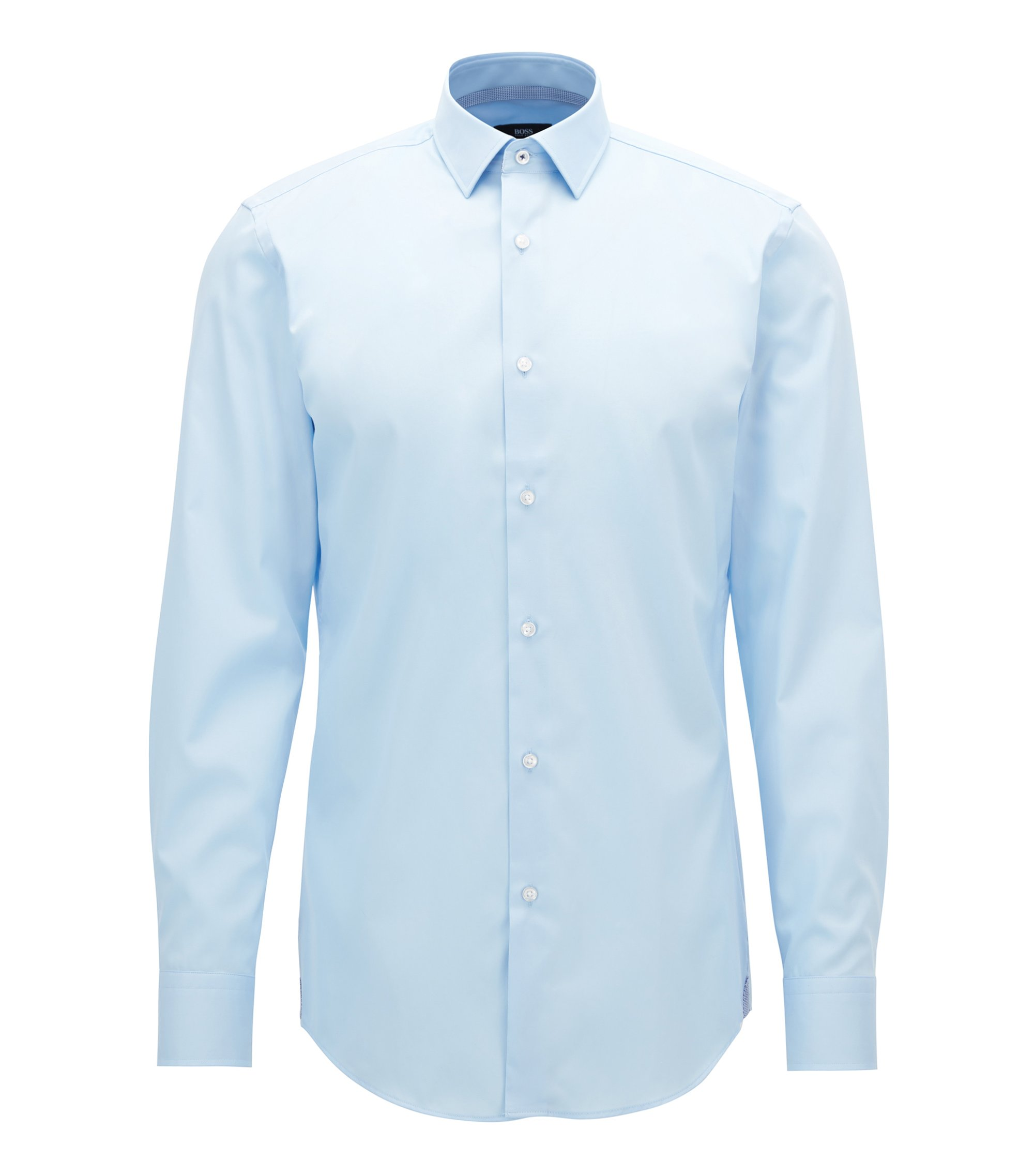 Slim-fit shirt in easy-iron cotton, Hellblau