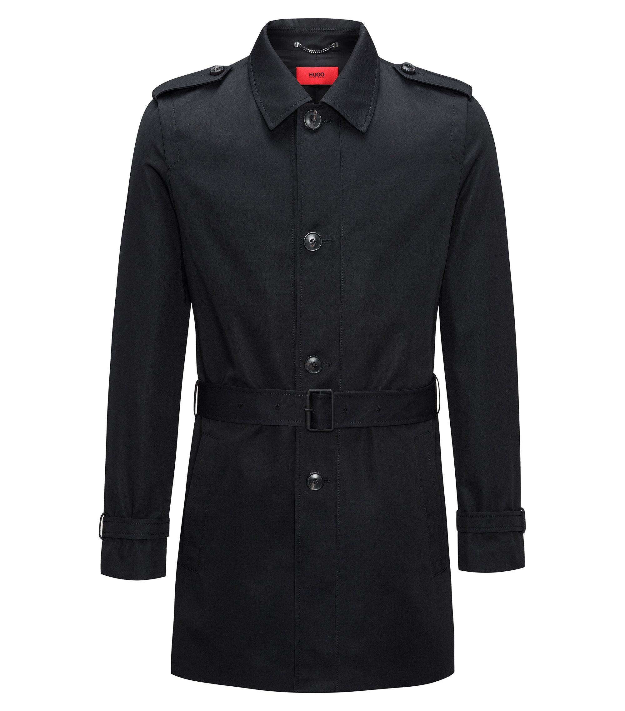 Water-repellent belted coat in a slim fit, Black