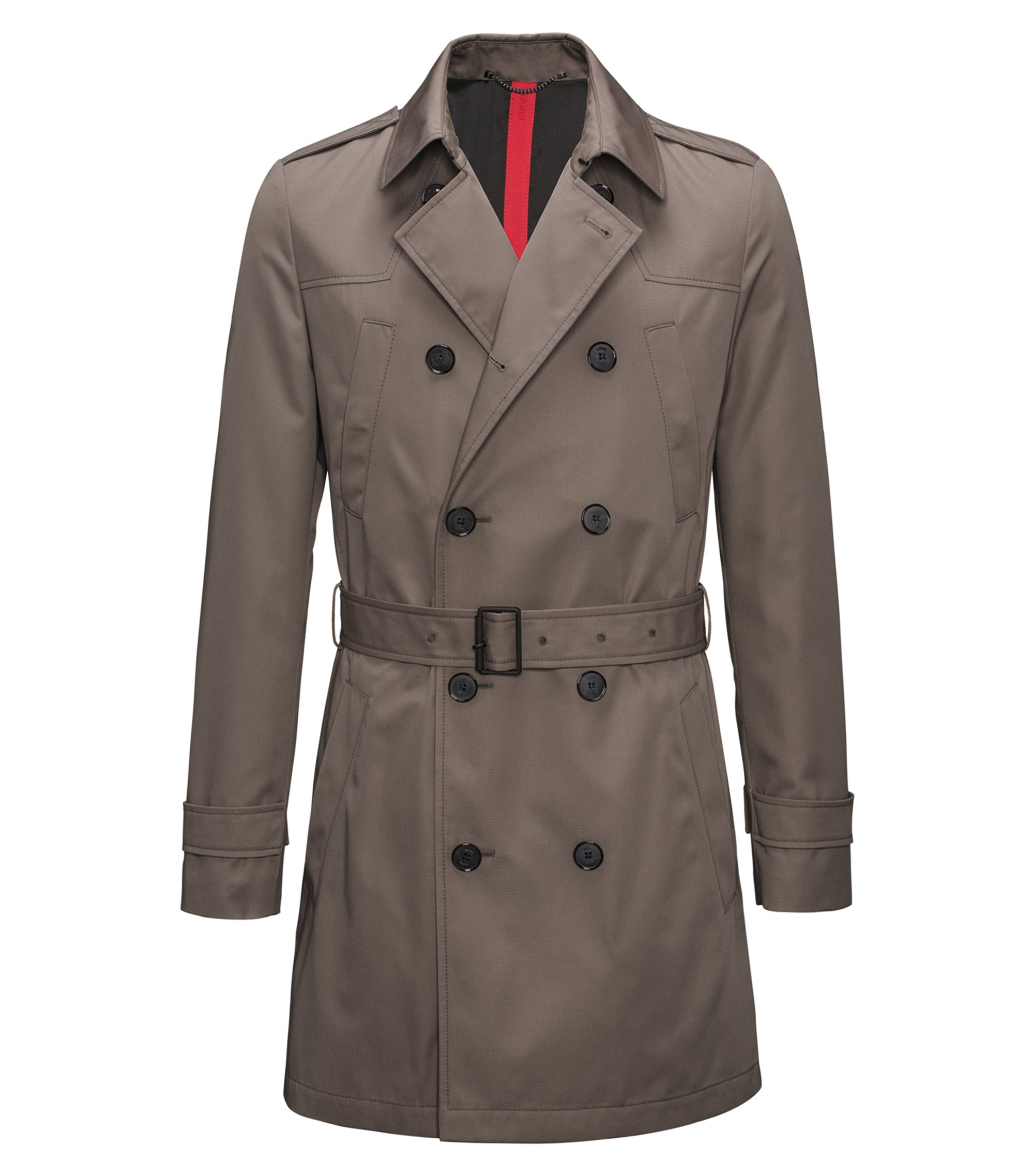 Slim-fit trench coat in water-repellent fabric, Brown