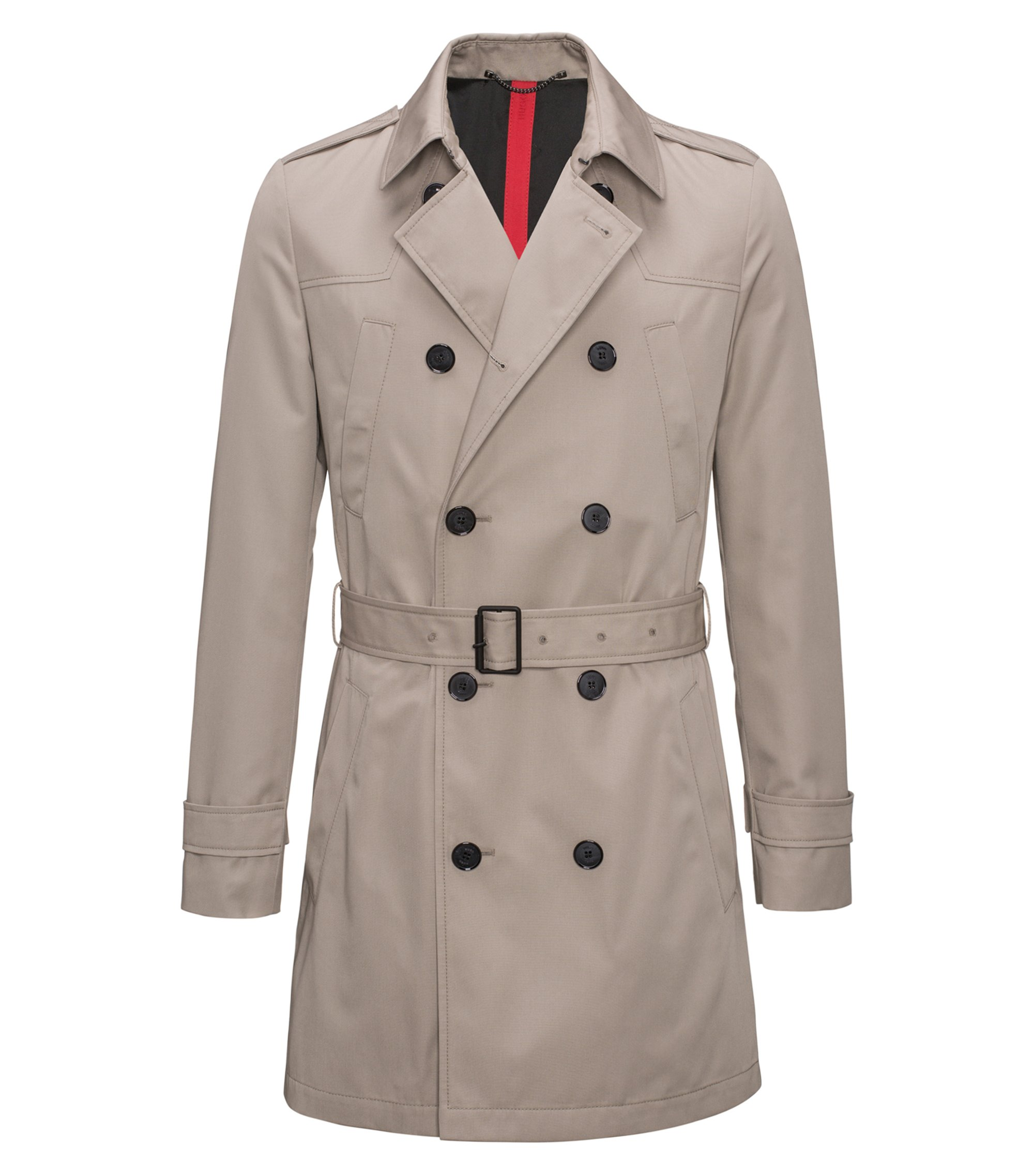 Slim-fit trench coat in water-repellent fabric, Beige
