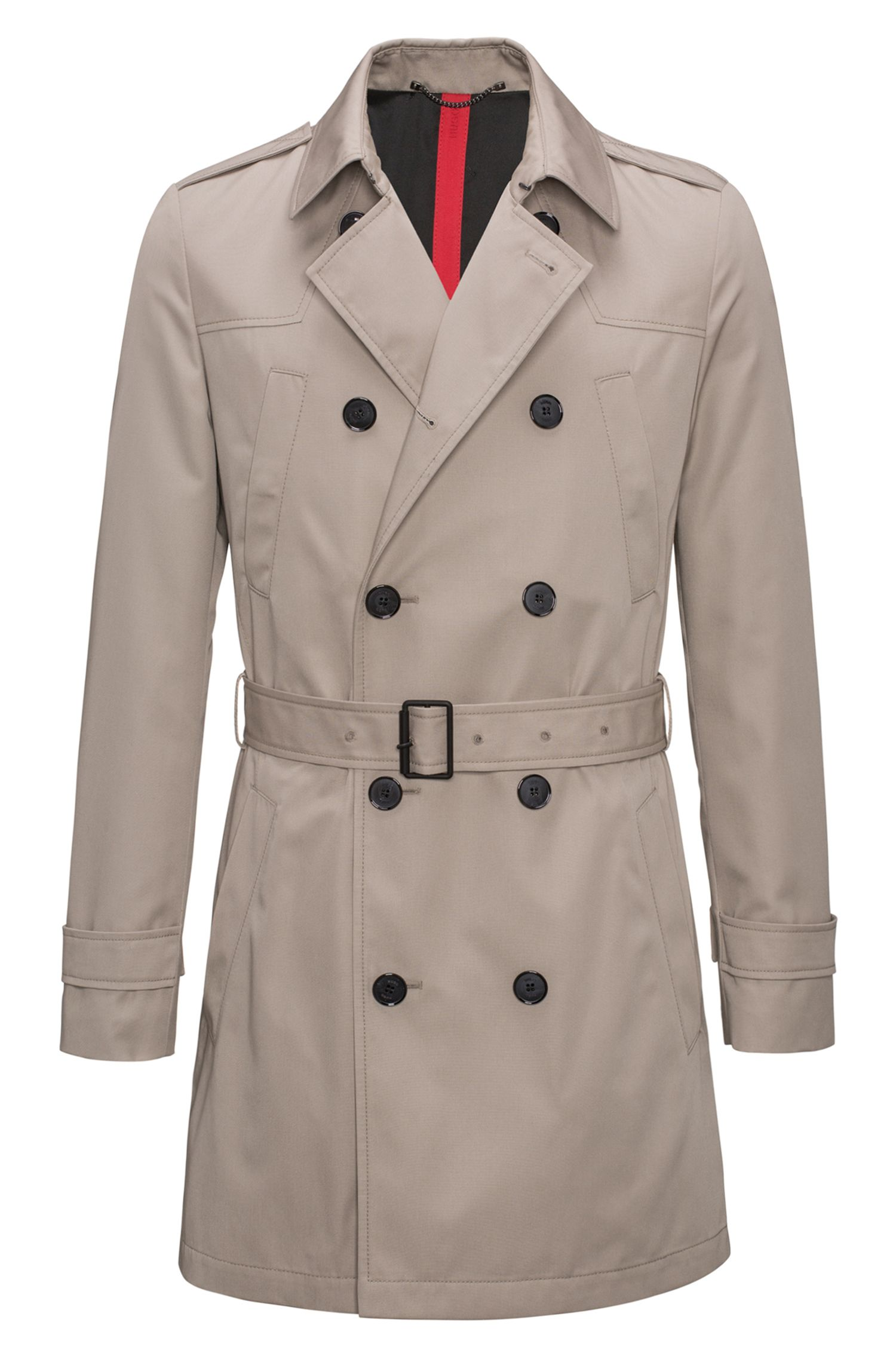 Slim-fit trenchcoat van waterafstotend materiaal