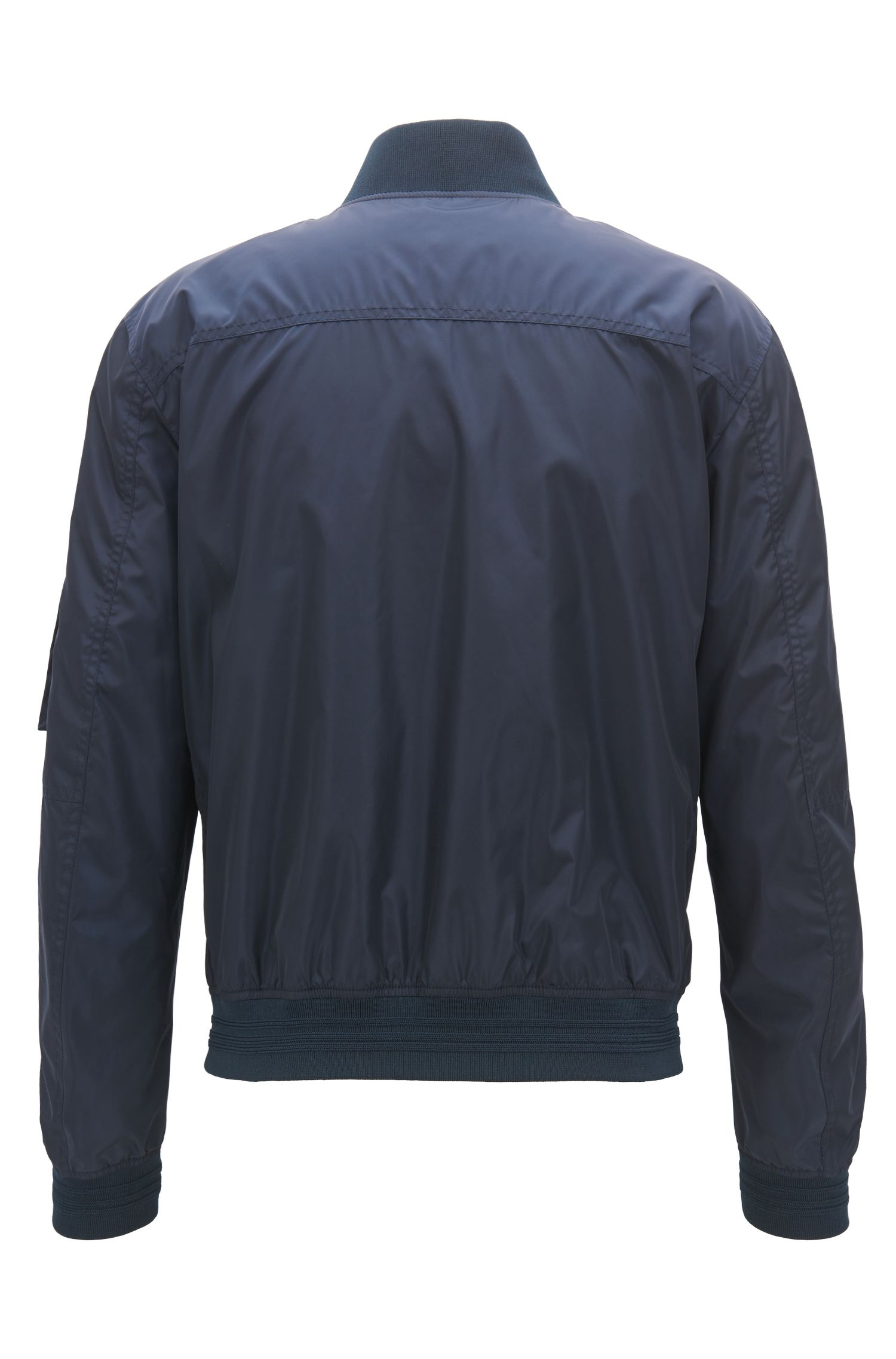 Water-repellent blouson bomber jacket with utility pocket