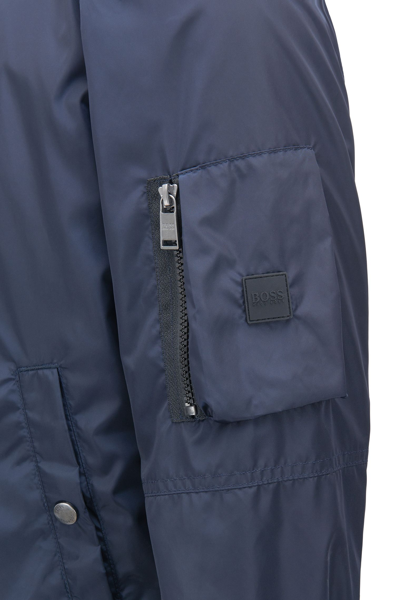 Water-repellent blouson bomber jacket with utility pocket, Dark Blue
