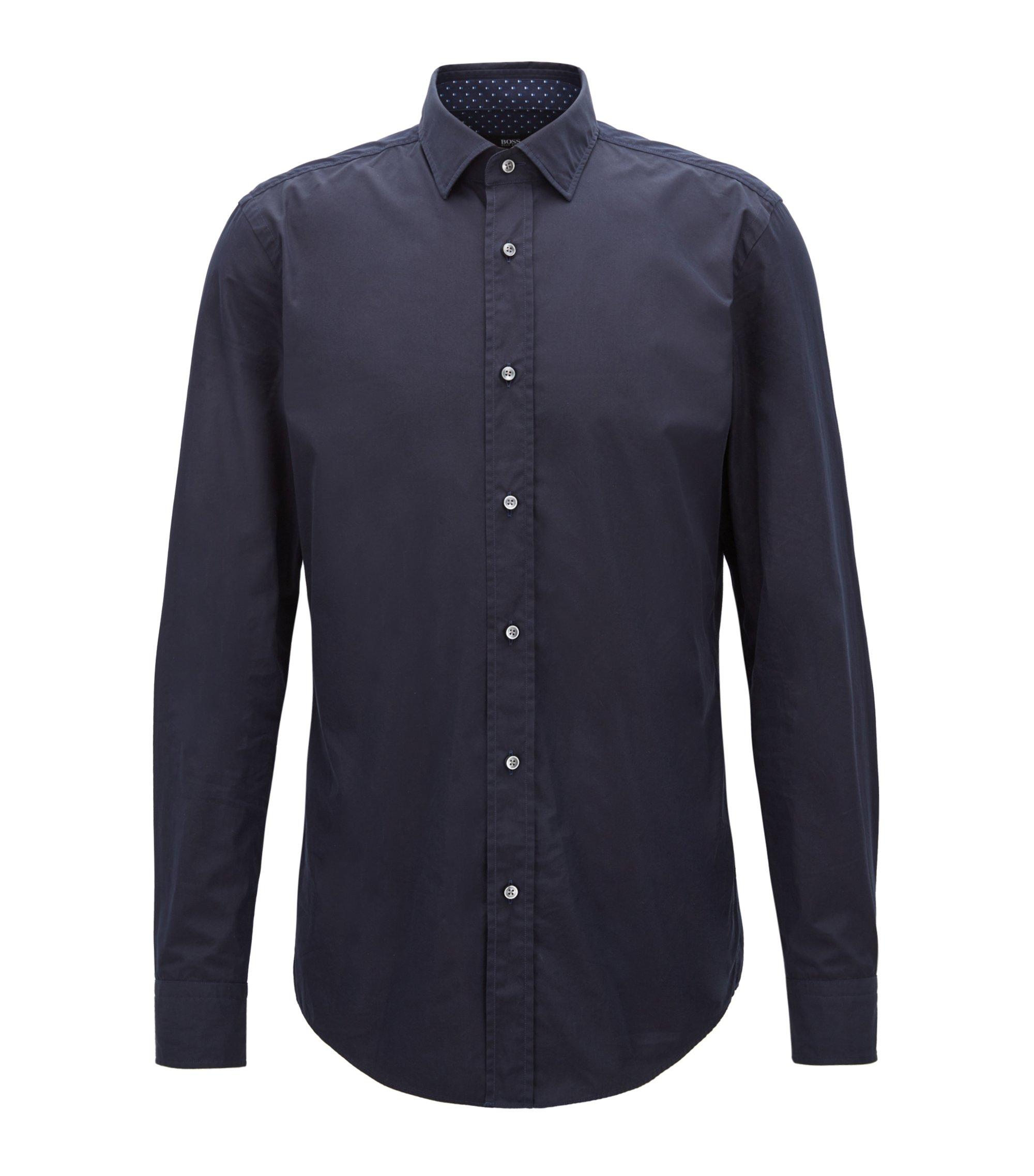 Slim-Fit Hemd aus italienischer Baumwoll-Popeline, Dunkelblau