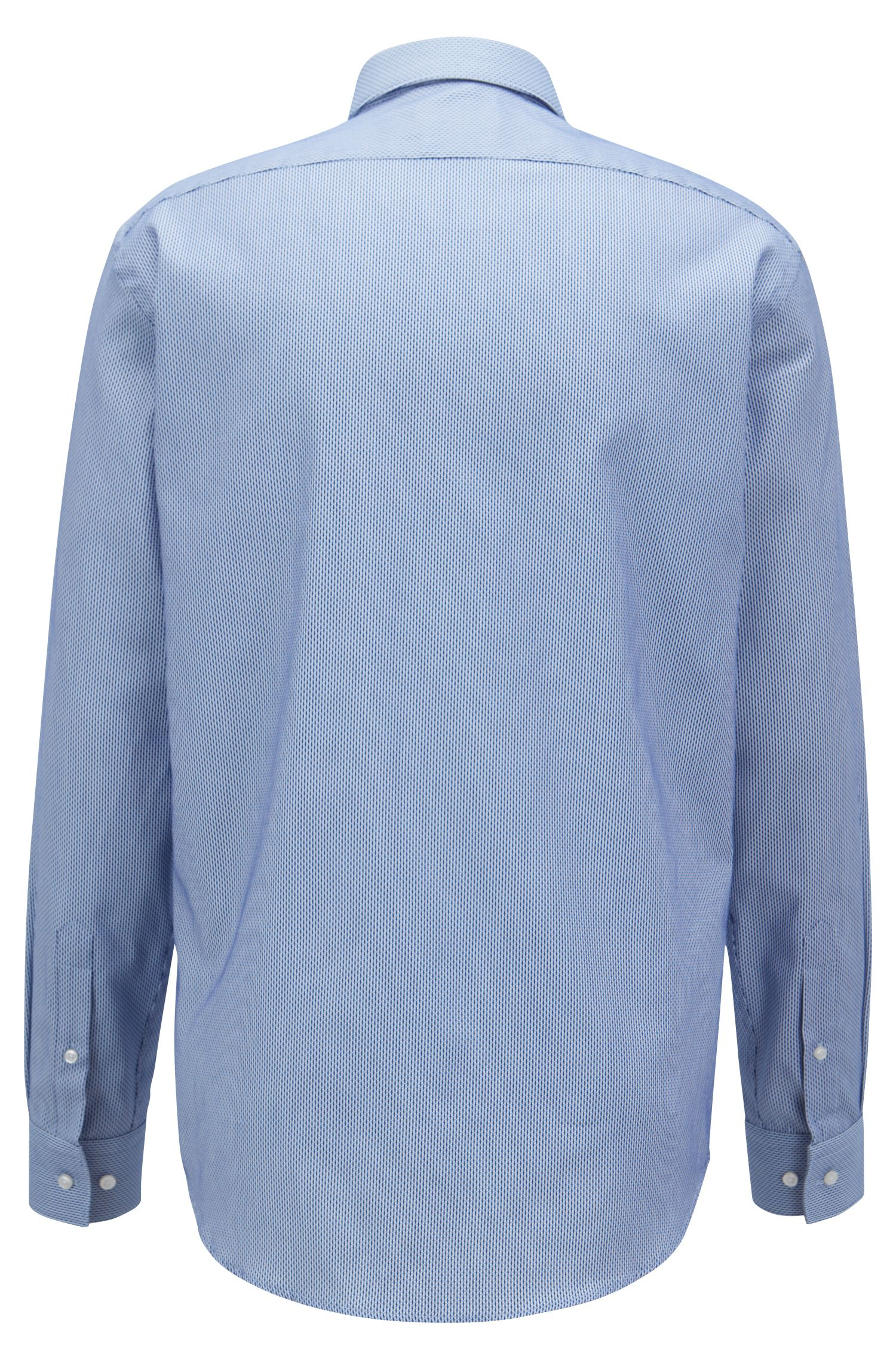 Regular-fit cotton shirt with two-tone micro structure, Blue